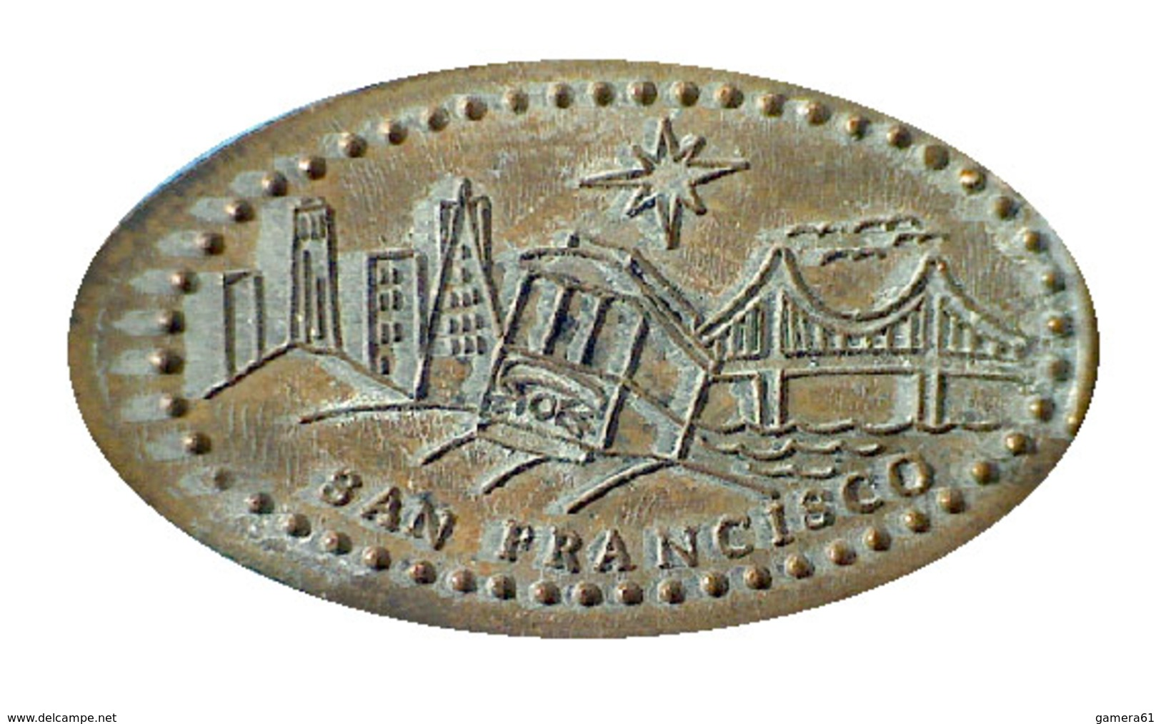 04582 GETTONE TOKEN JETON ELONGATED RELATED TRANSPORT TRAMWAY SAN FRANCISCO - Elongated Coins