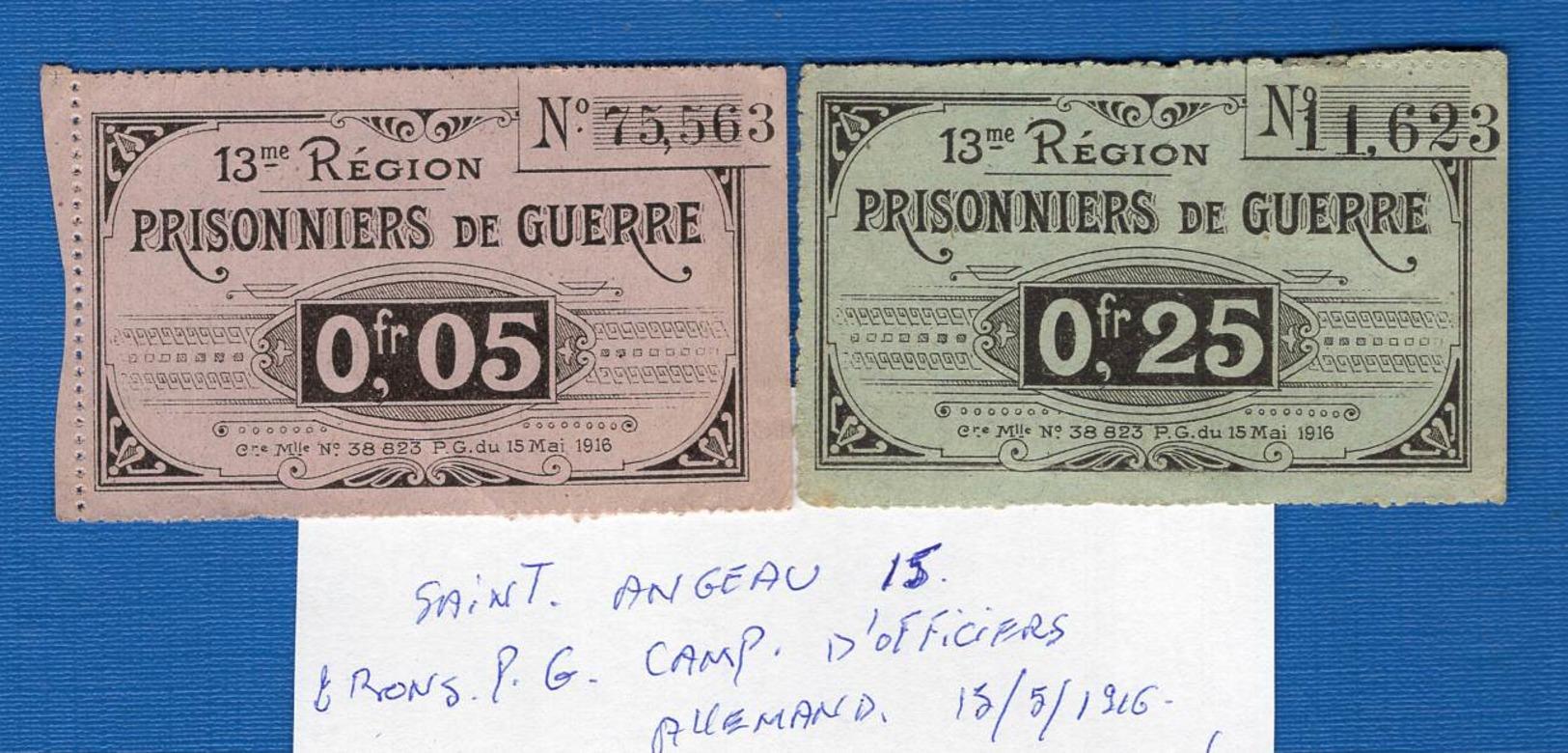 Saint  Angeau  15  Cantal   2  Bons  Pg  Camp  Dofficiers  Allemand - Buoni & Necessità
