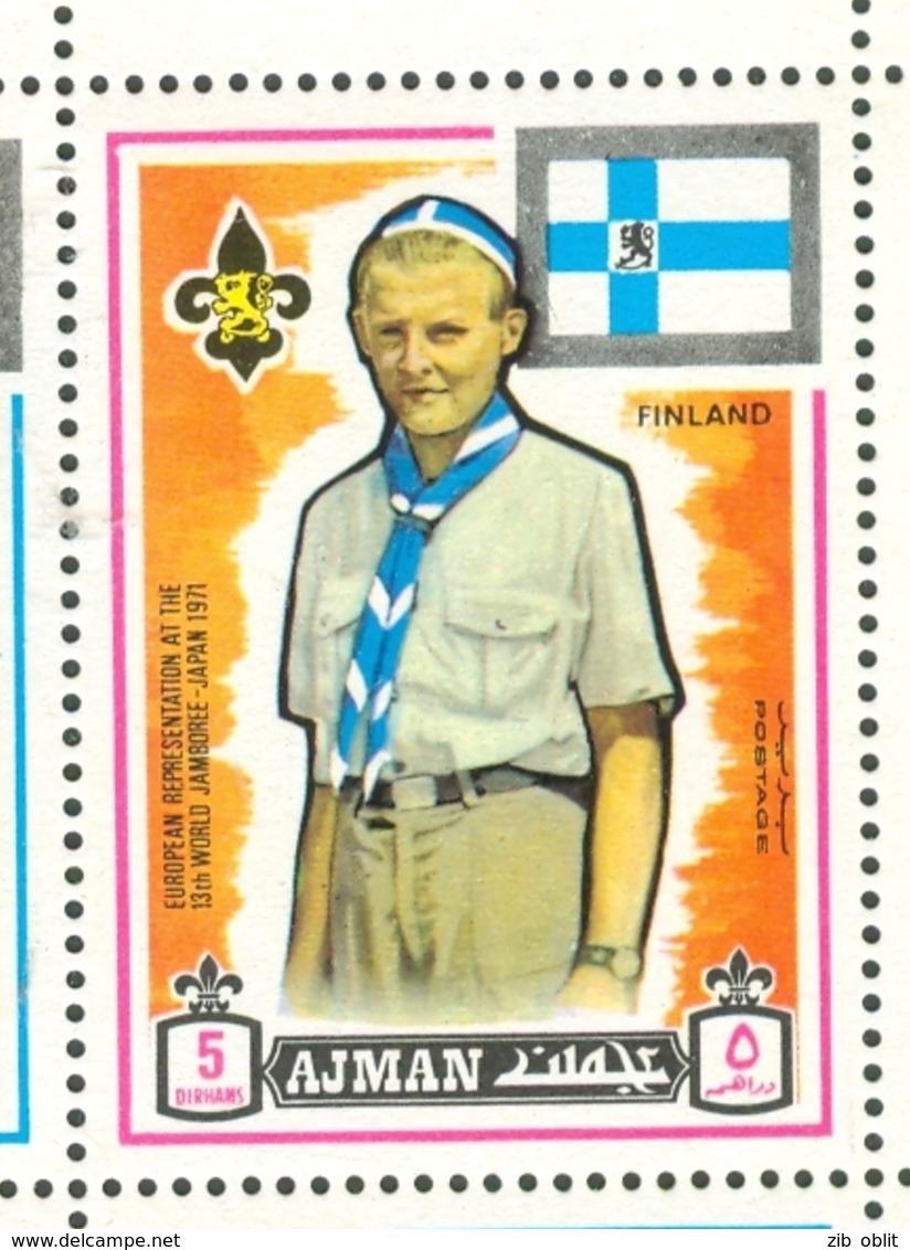 19/5 (vert) Ajman, Timbre Neuf XX Theme Scoutisme Scouts Drapeau Flag Scouting Finlande Finland Suomi - Scouting