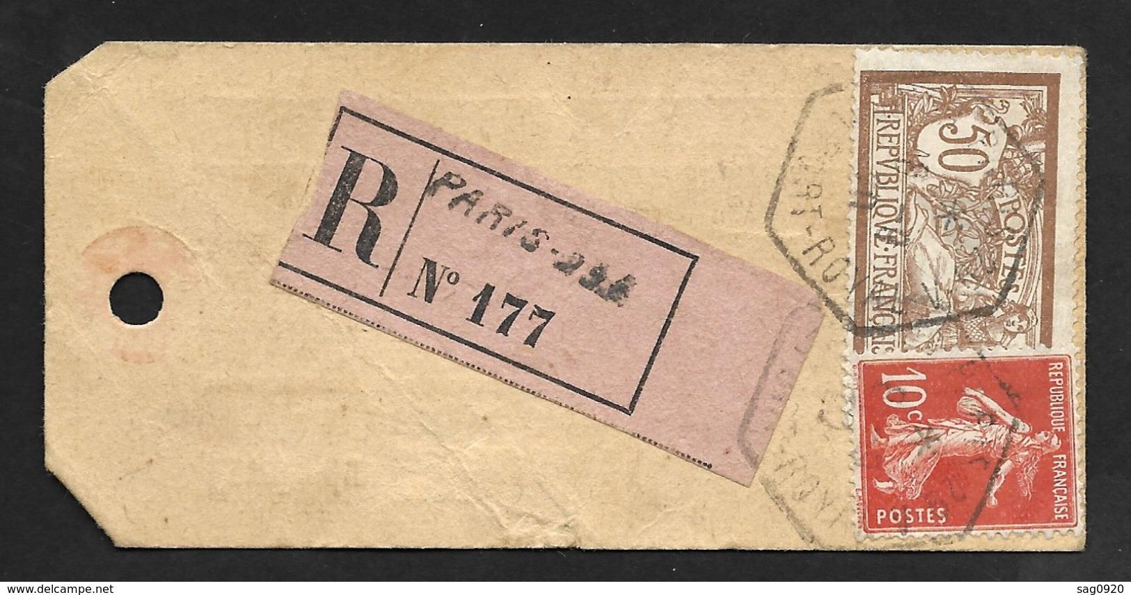 Etiquette Echantillon Avec Cachet Paris Port Royal Sur Merson 50c Et Semeuse 10c-Recommandé - Storia Postale