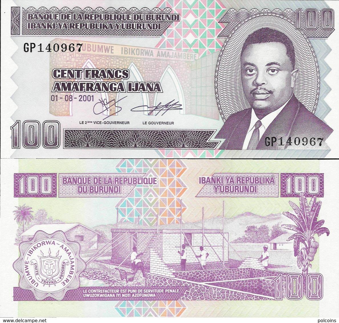 Burundi 2001 - 100 Francs (big Note) - Pick 37 UNC - Burundi