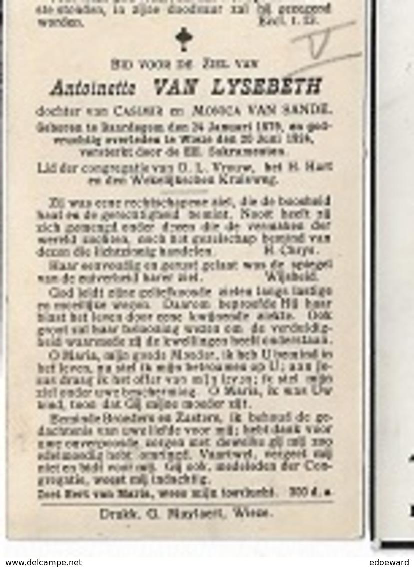 DI/Q/°  BAARDEGEM 1879 + WIEZE 1924 ANTOINETTE VAN LYSEBETH - Religion & Esotérisme