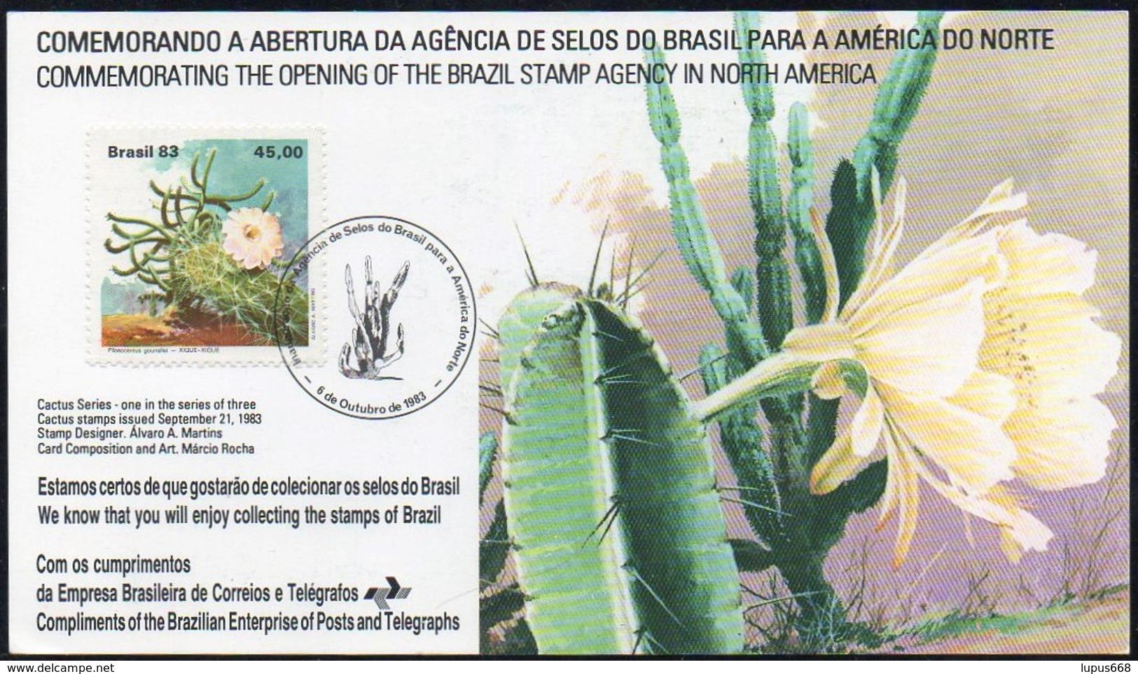 Brasilien 1983 Karte/ Card MiNr. 1996  Kakteen Auf Erinnerungskarte Zur Eröffnung Der Brasilianischen Briefmarkenagentur - Sukkulenten