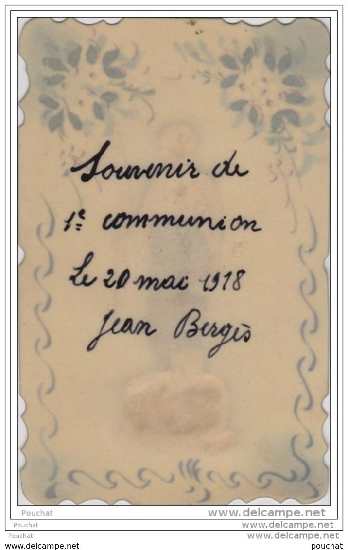 Carte En Celluloïd Peinte à La Main - Souvenir De Ma 1er Communion - Collage Communiant + Fleurs 20/03/1918 - Cartes Postales