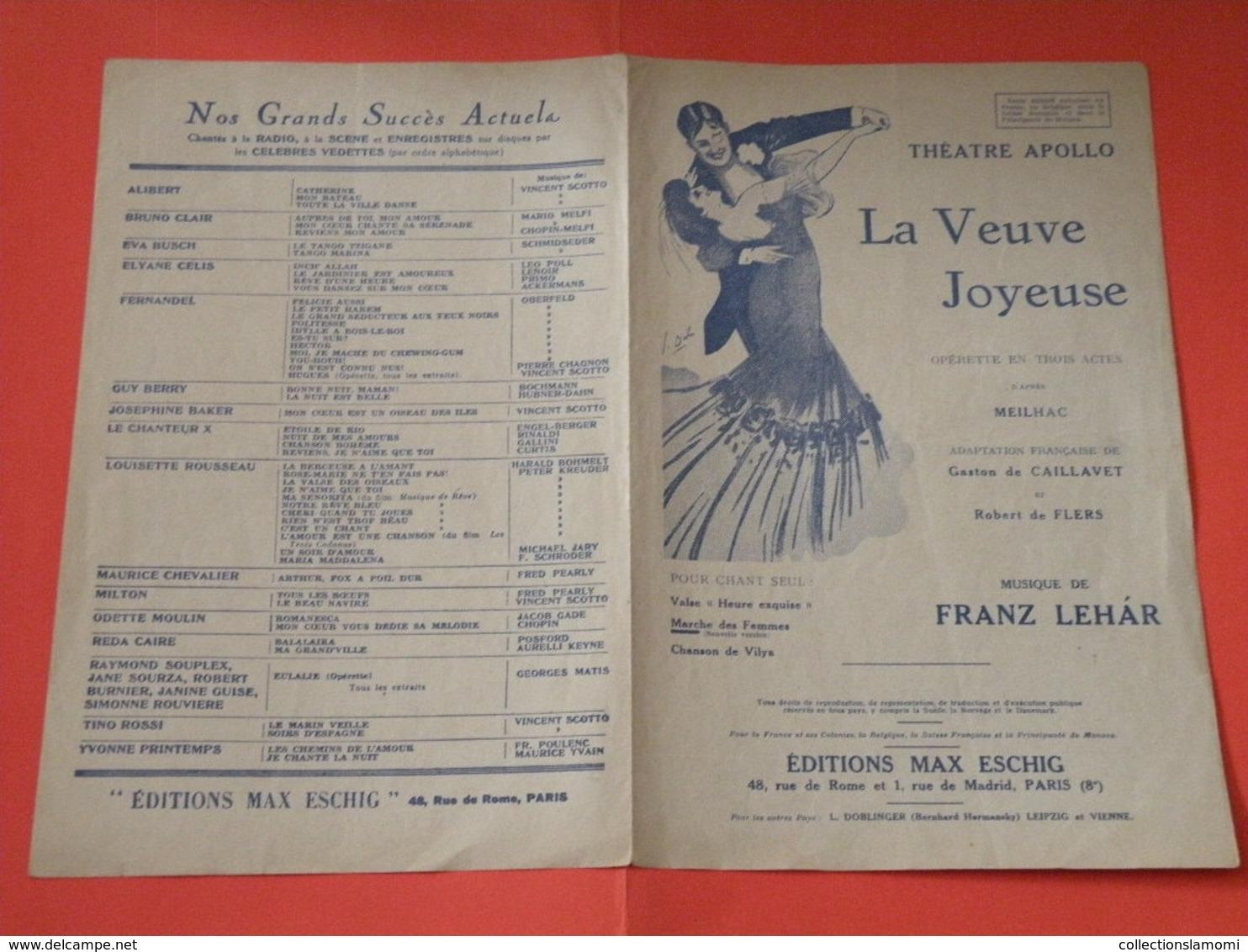La Veuve Joyeuse( Opérette)-(Théâtre Apollo) (Musique Franz Le Har) Partition 1909 - Opéra