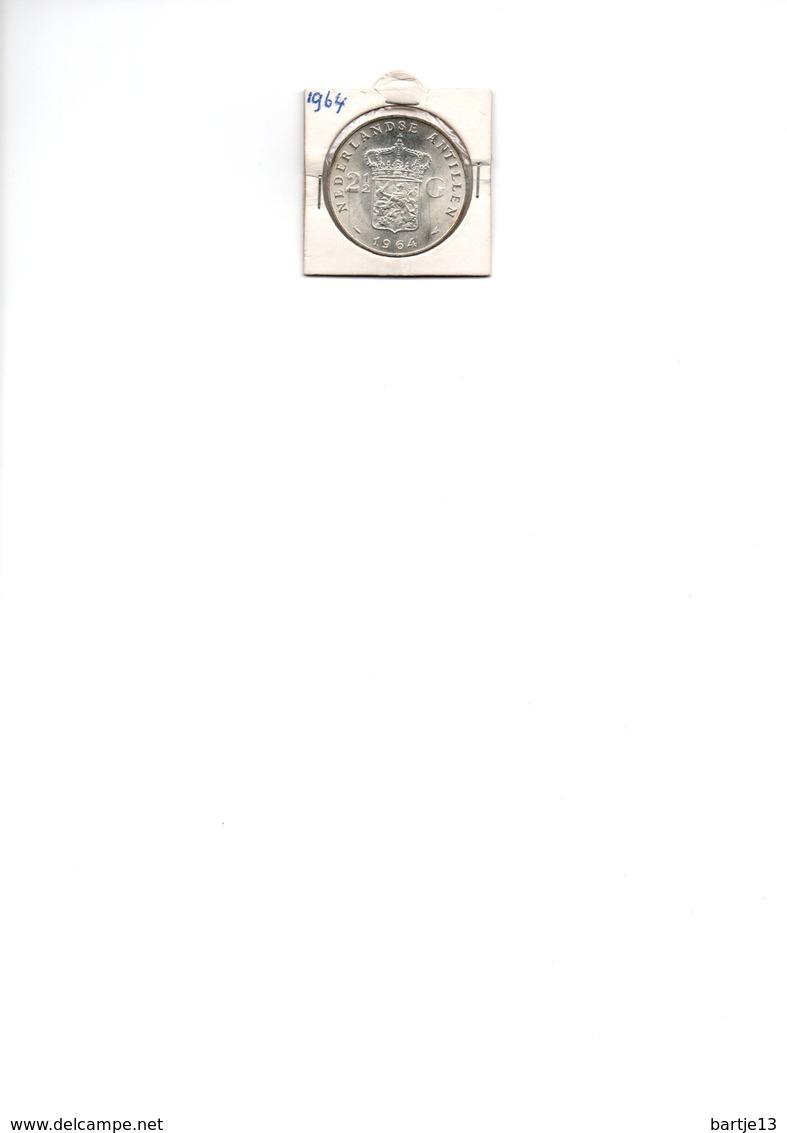 NEDERLANDSE ANTILLEN 2 1/2 GULDEN 1964 JULIANA ZILVER UNC. - Netherland Antilles