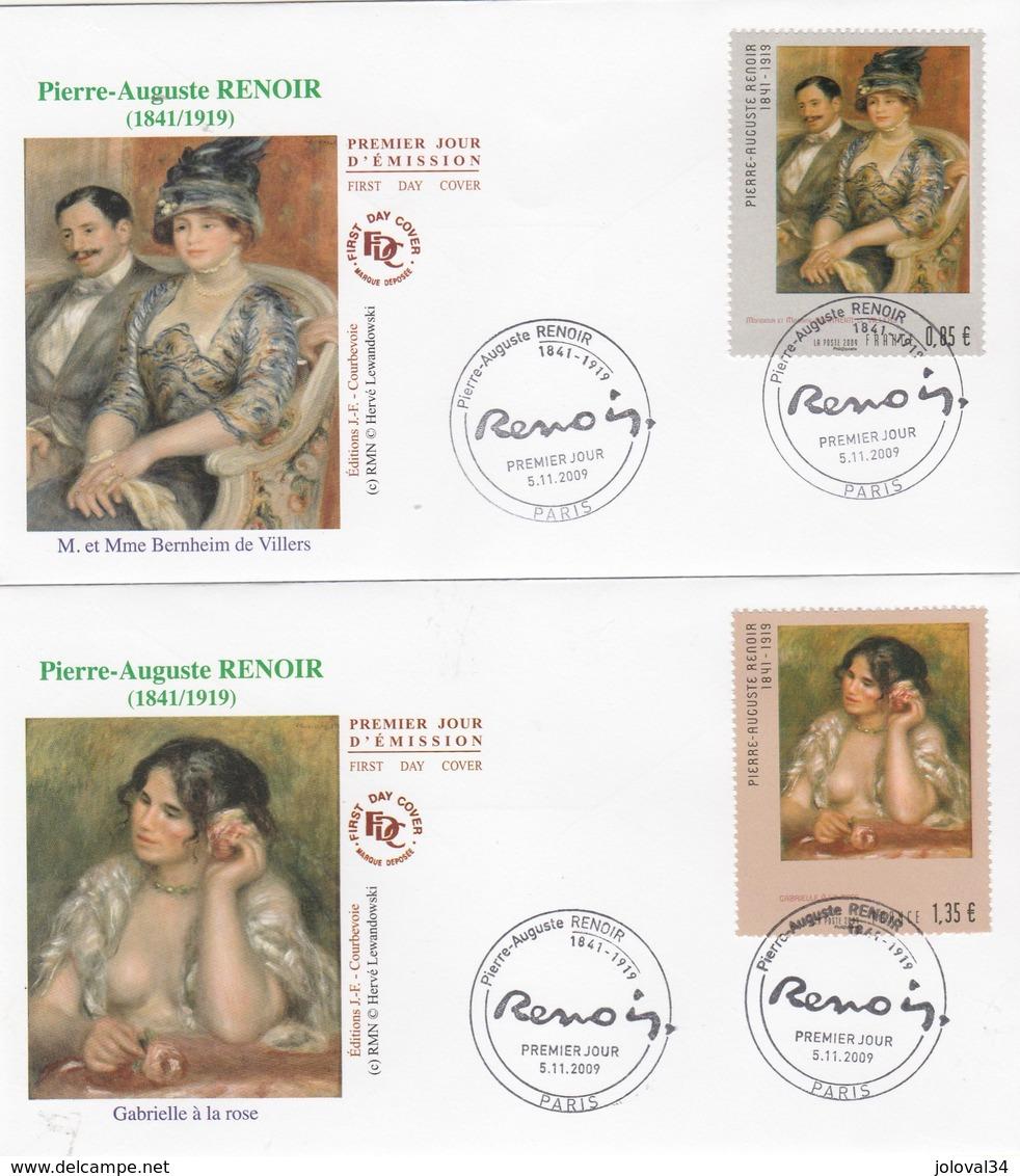 2 Enveloppes FDC 2009 Paris Auguste RENOIR - M Mme Bernheim De Villers Et Gabrielle à La Rose - Art Peinture - FDC