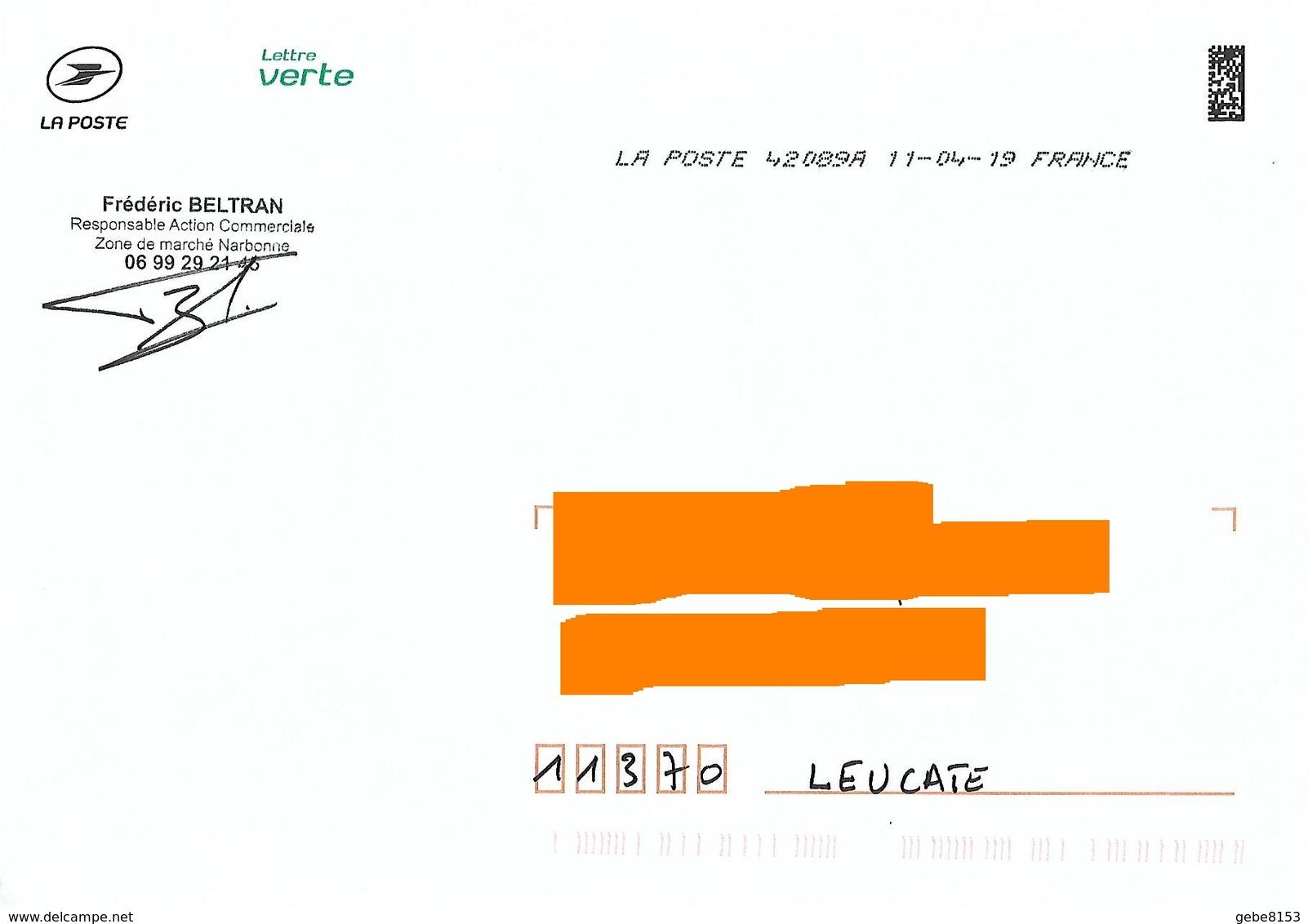 Enveloppe Service La Poste Lettre Verte Narbonne Aude Demi Toshiba - Postdokumente