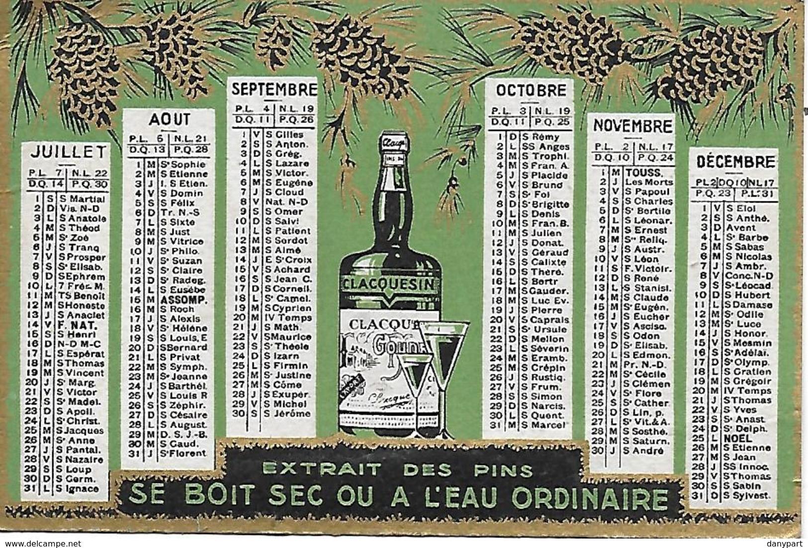 Calendrier De Poche 1933 Clacquesin Apéritif Extrait Des Pins Parfait état Port Gratuit 2 Scans - Kalenders