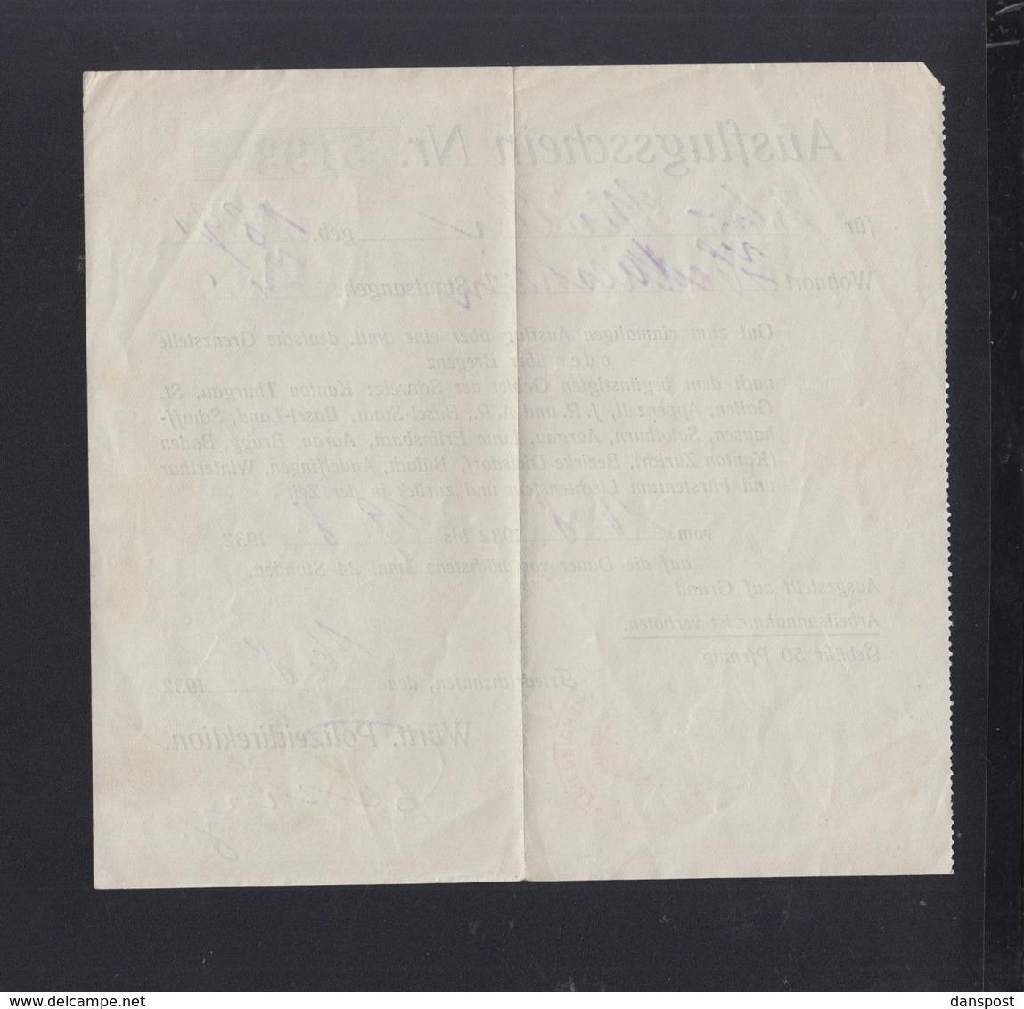 Württemberg Polizei Direktion Ausflufsschein Für Die Schweiz U. Liechtenstein Friedrichshafen 1932 - Documenti Storici