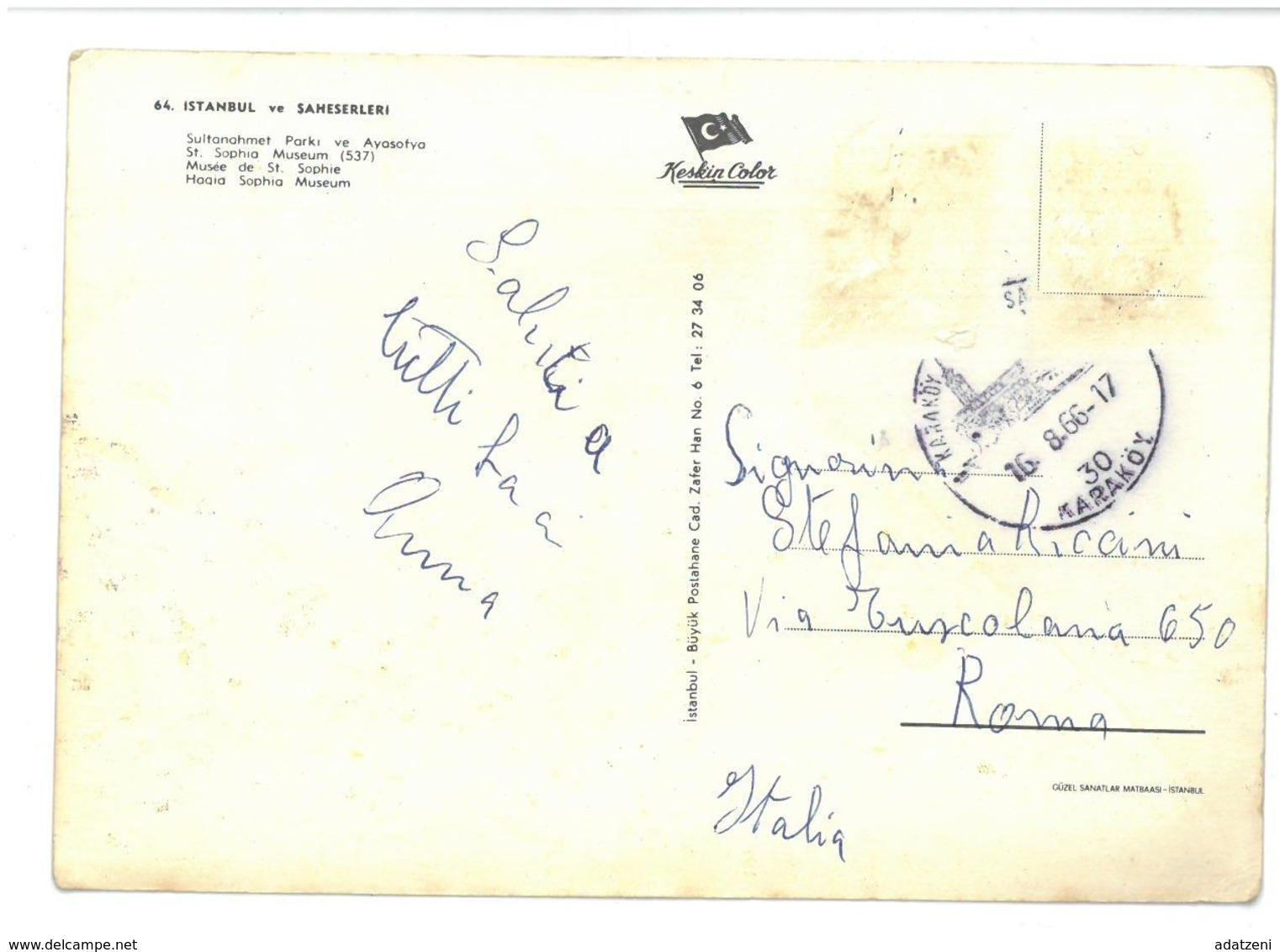 Turchia Istanbul Ve Saheserleri Viaggiata 1966 Condizioni Come Da Scansione - Turchia