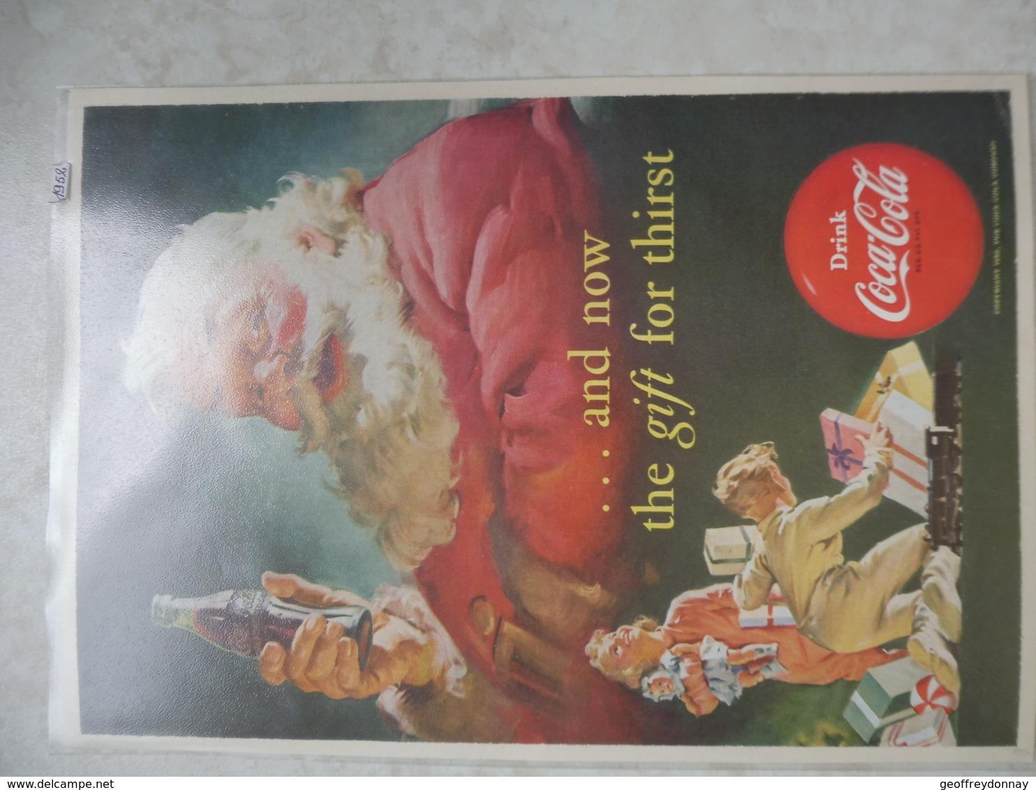Affiche Publicitaire Coca Cola 25cm Sur16 ( Pere Noel ) 1952 Copyright / Reclamaffiche Cola - Affiches Publicitaires