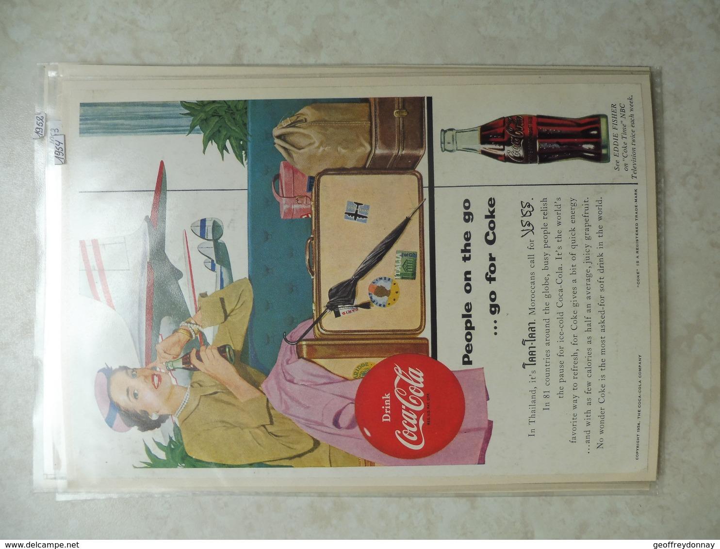 Affiche Publicitaire Coca Cola 25cm Sur16 ( Aeroport )   1954 Copyright / Reclamaffiche Cola - Affiches Publicitaires