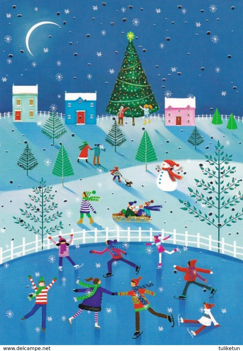 Postal Stationery - Bird - Dove - Children Skating On Ice - Unicef - Suomi Finland - Postage Paid - Finlandia