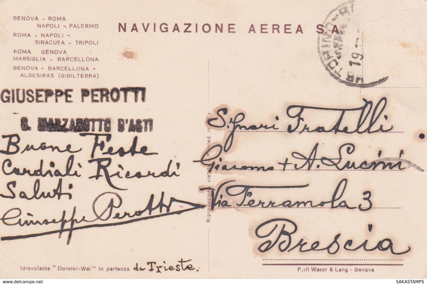 """1930circa-idrovolante """"Dornier Wal"""" In Partenza Da Trieste, Viaggiata - Cartoline"""