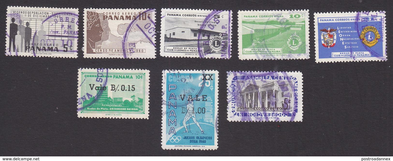 Panama, Scott #C238-C239, C245-C247, C253-C255, Used, Census, Lions, City Hall, Issued 1960-62 - Panama