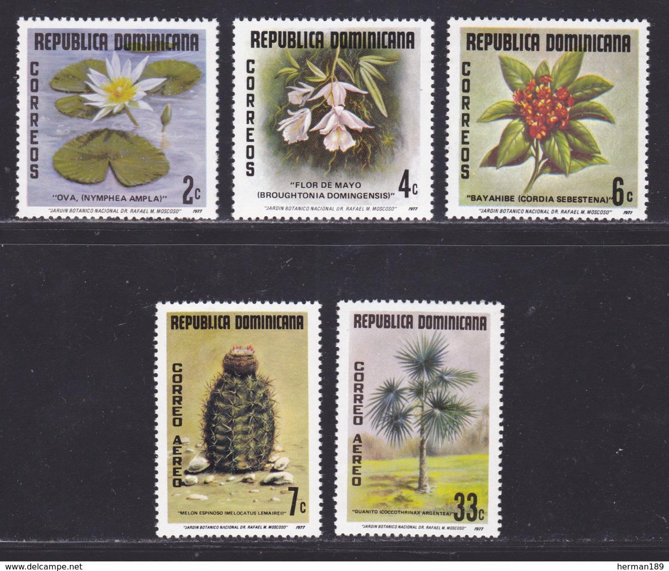DOMINICAINE N°  811 à 813, AERIENS 304 & 305 ** MNH Neufs Sans Charnière, TB (D9040) Plantes Du Jardin Botanique - 1977 - República Dominicana