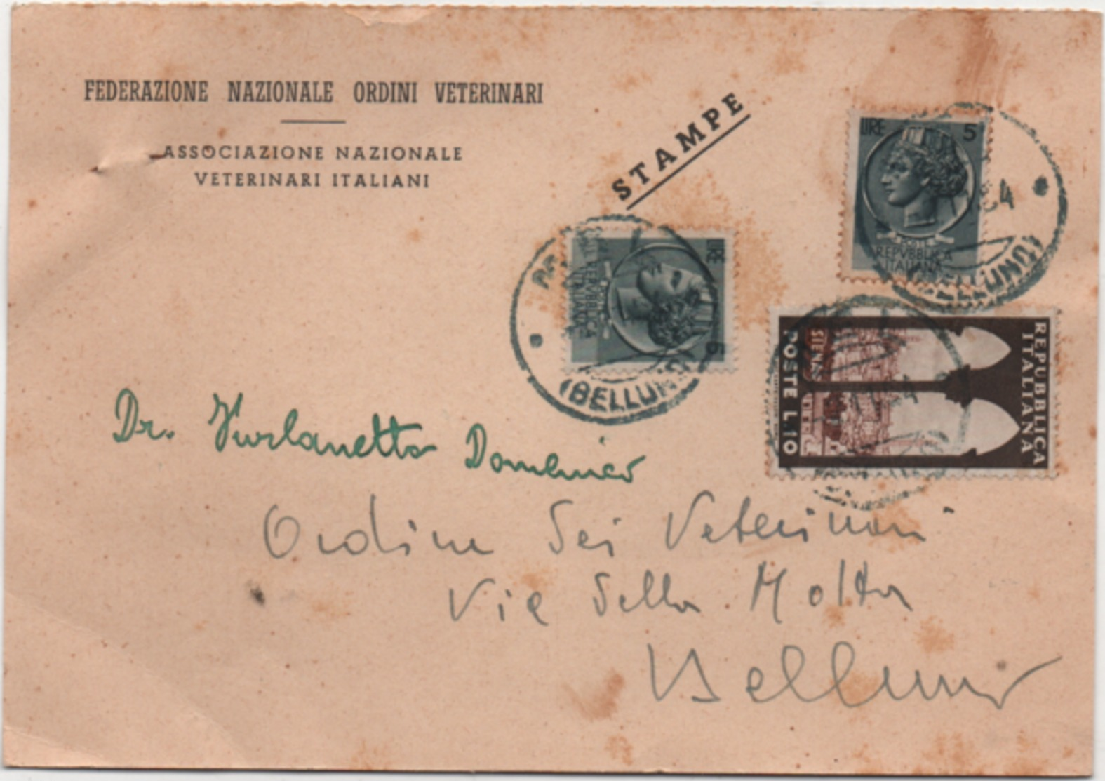 Federazione Nazionale Ordini Veterinari: Cartolina Pubblicitaria Viaggiata 1954 Veterinario - Professions