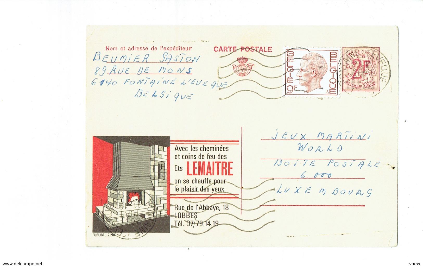 Publibel 2210 - LEMAITRE - 0265 - Stamped Stationery