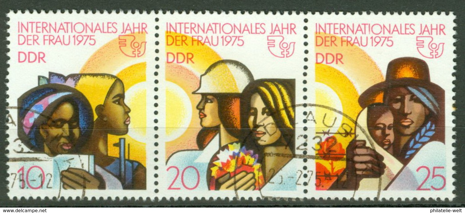 DDR 2019/21 Dreierstreifen O Tagesstempel - Oblitérés