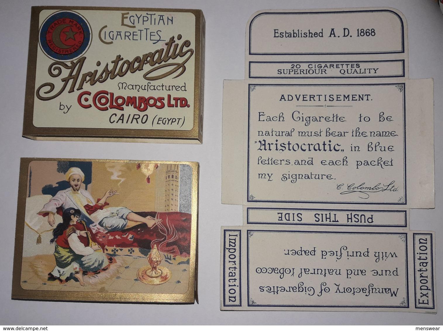 ARISTOCRATIC  C.COLOMBOS LTD.CAIRO MALTA  PACKET OF 20 CIGARETTE - 1920s VERY RARE - - Empty Cigarettes Boxes