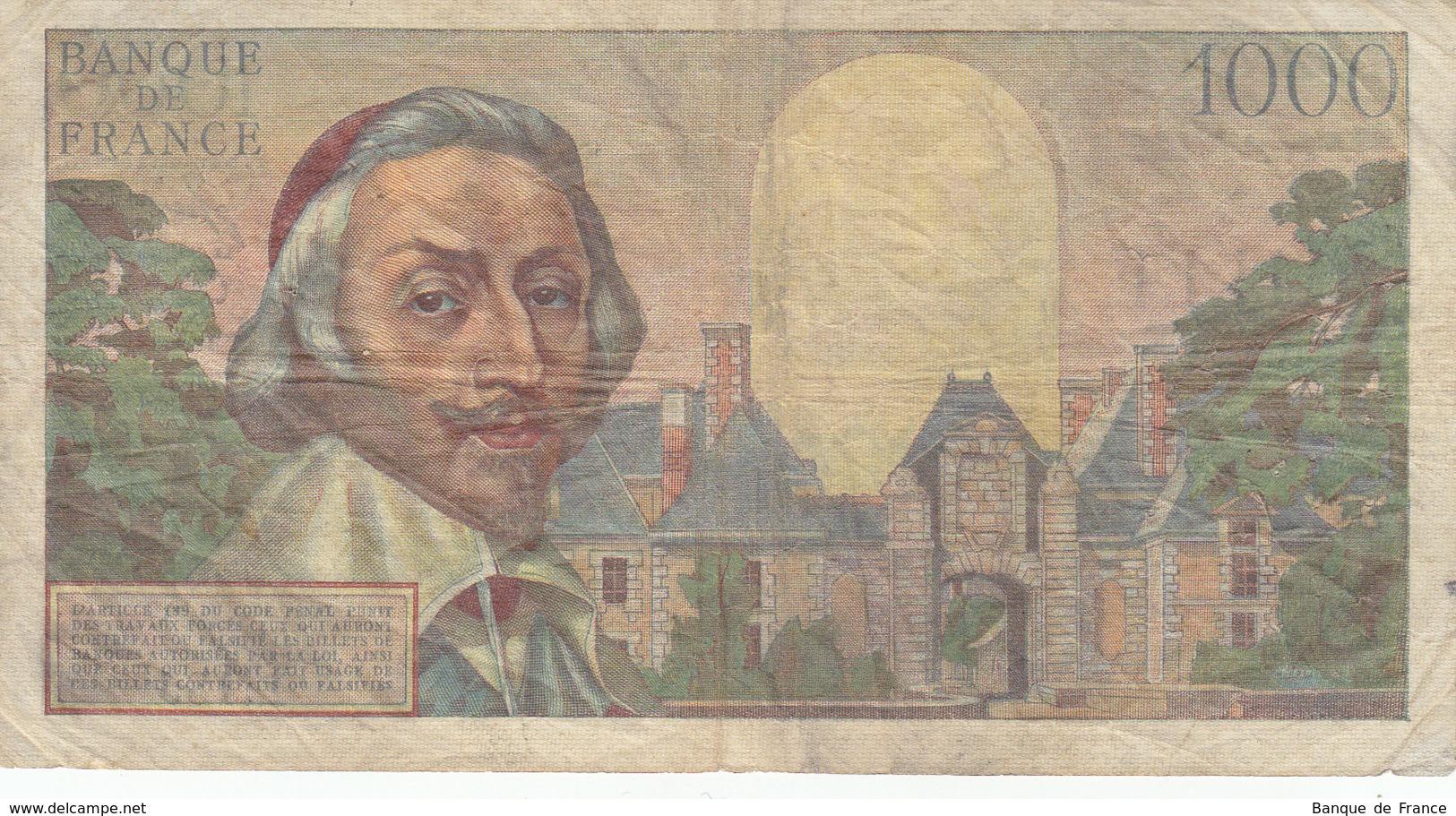 Billet 1000 F Richelieu Du 1-9-1955 FAY 42.15 Alph. L.185 - 1871-1952 Anciens Francs Circulés Au XXème