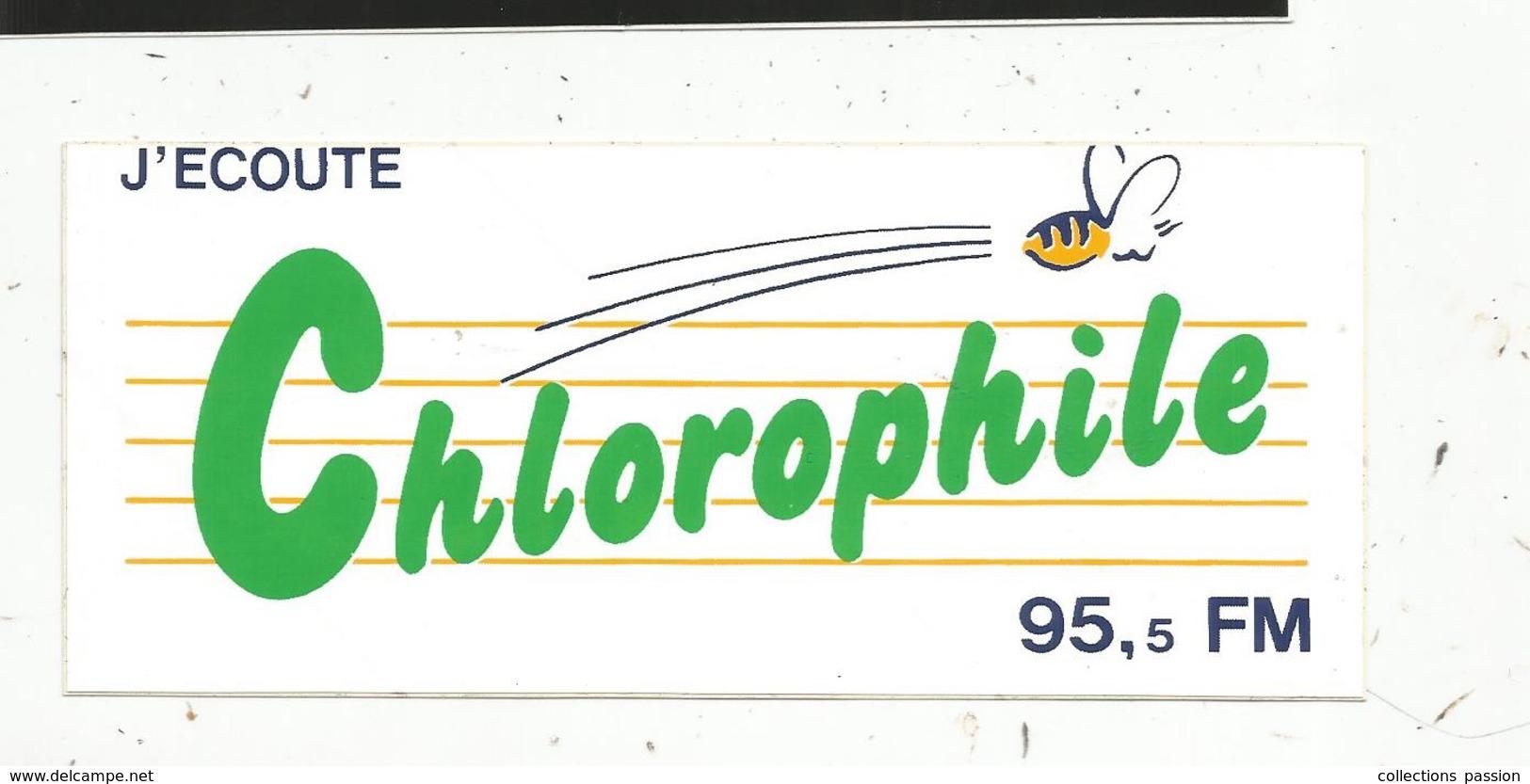 Autocollant ,  RADIO , J'écoute  CHLOROPHILE , 95,5 FM - Autocollants