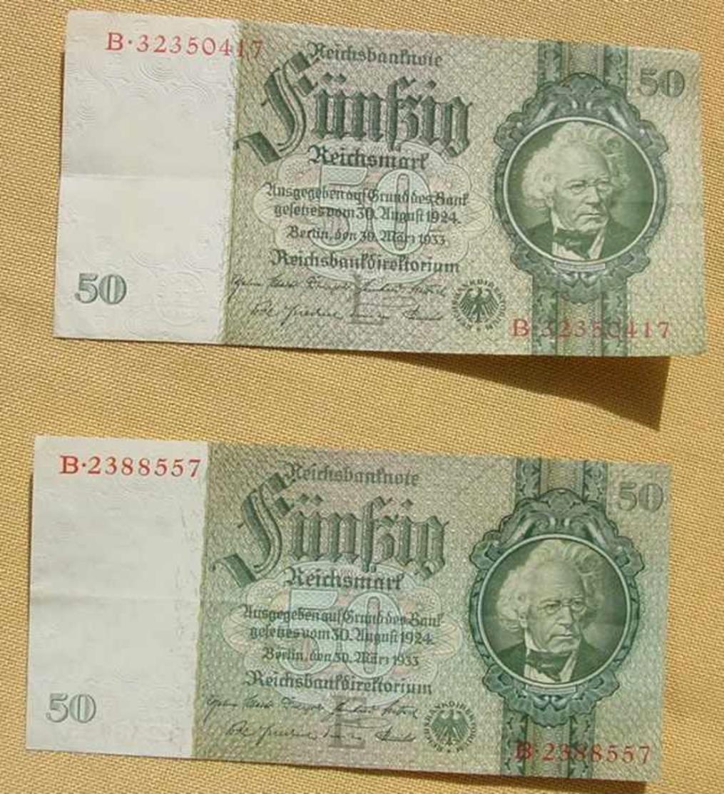 (1049296) 2 X 50 Reichsmark, Berlin 30. März 1933, KN 7 U. KN 8-stellig, Siehe Bitte Beschreibung U. Bilder - 50 Reichsmark