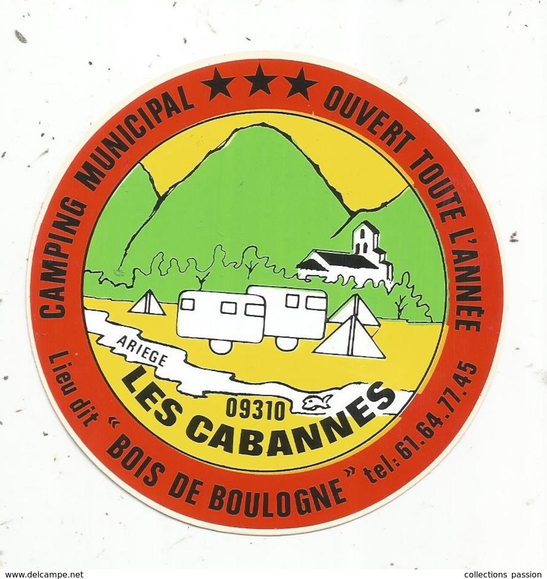 """Autocollant , CAMPING Municipal, Lieu Dit """"Bois De Boulogne"""" ,LES CABANNES ,  Ariège - Autocollants"""