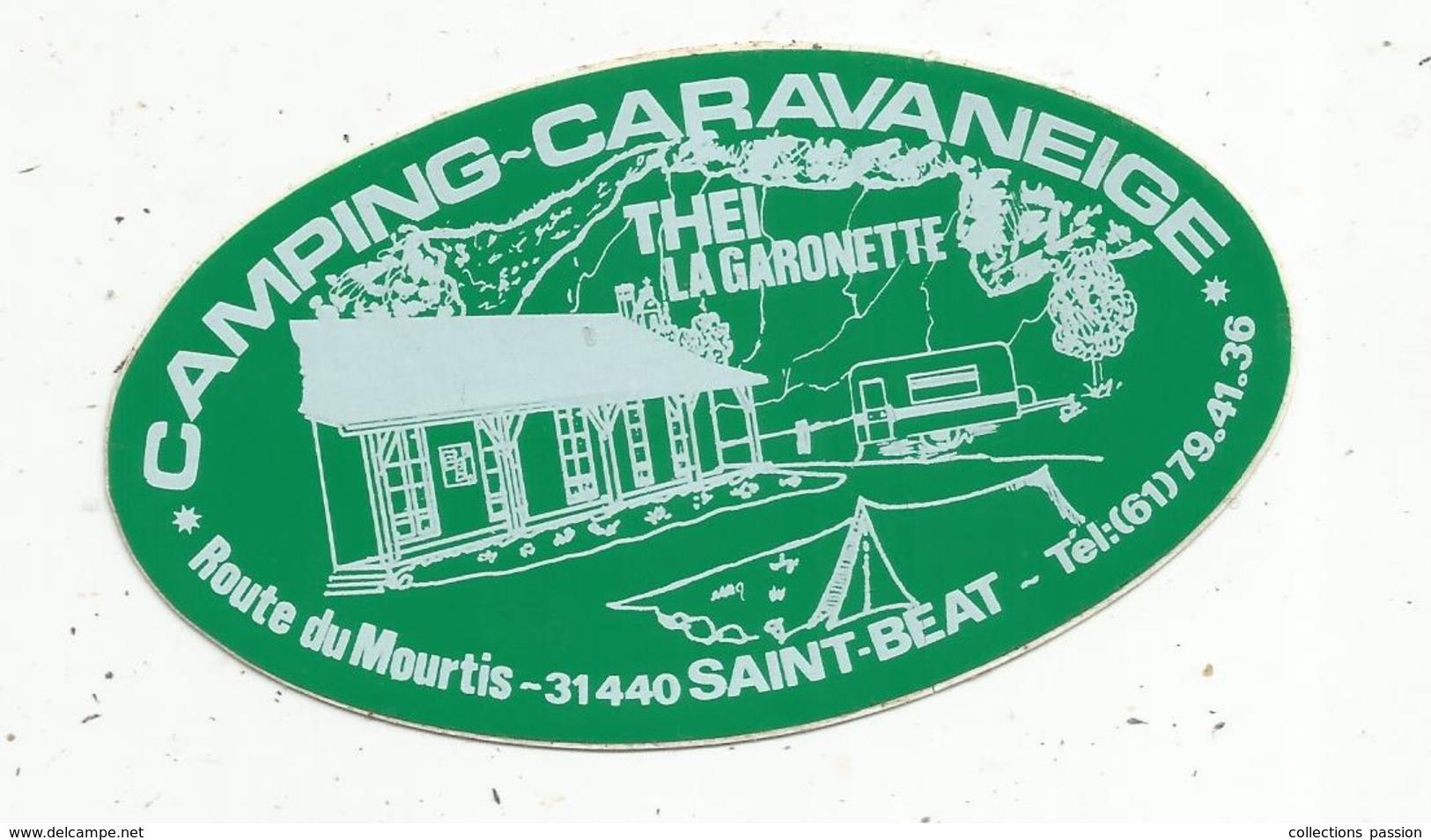 Autocollant , CAMPING - CARAVANEIGE ,THEI ,LA GARONETTE , 31,SAINT BEAT - Autocollants