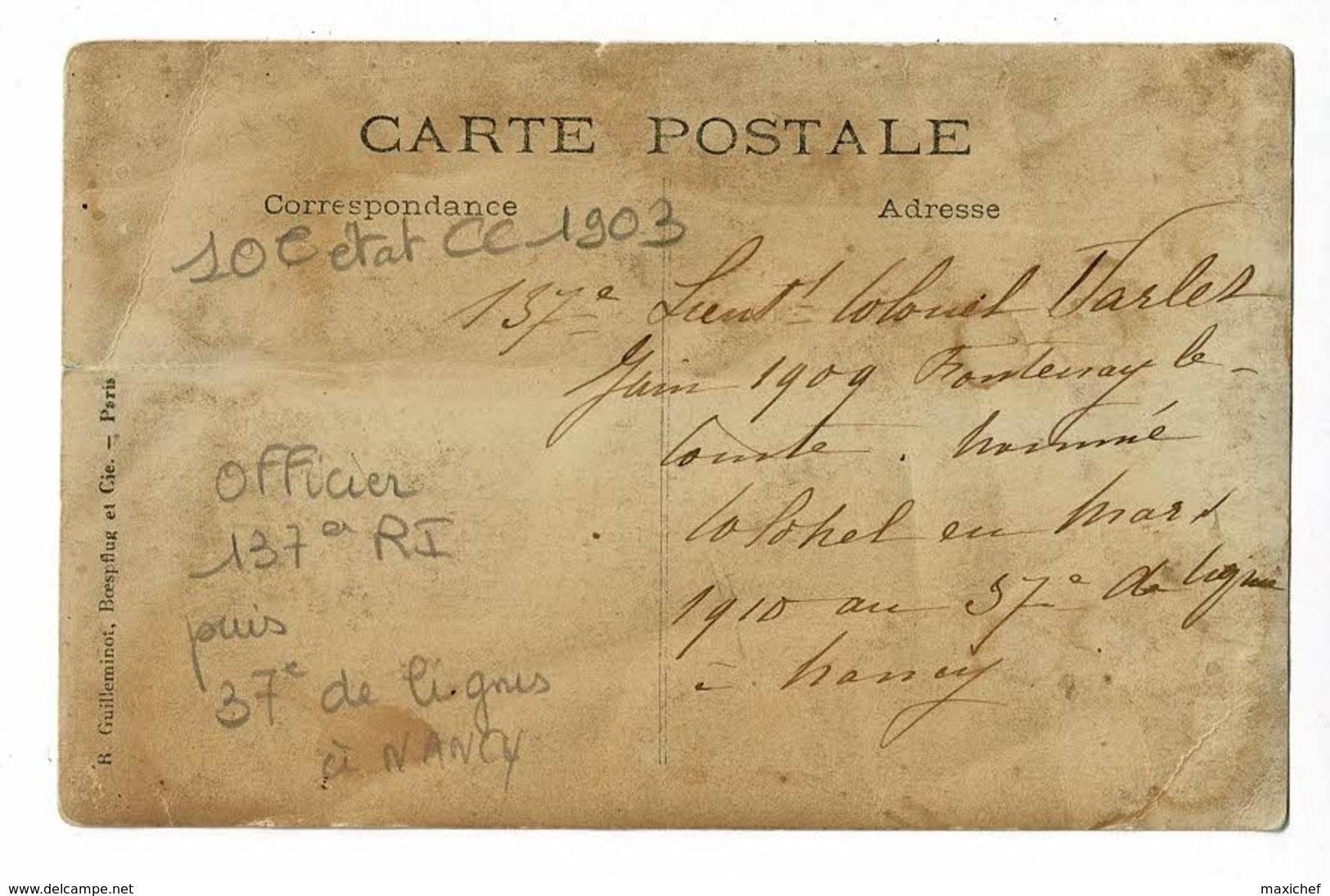 """Carte Photo - Officier 137e RI """"Lieutenant-Colonel Varlet Juin 1910, Fontenay Le Comte, Colonel, Mars 1910, 37e à Nancy"""" - Characters"""