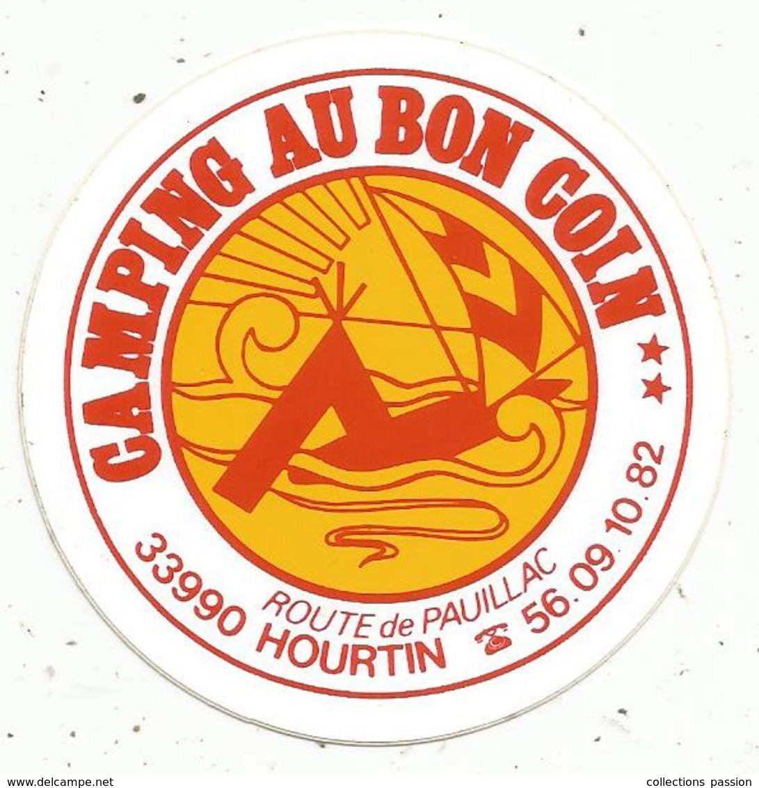Autocollant , CAMPING AU BON COIN ,  Route De Pauillac,33, HOURTIN - Autocollants
