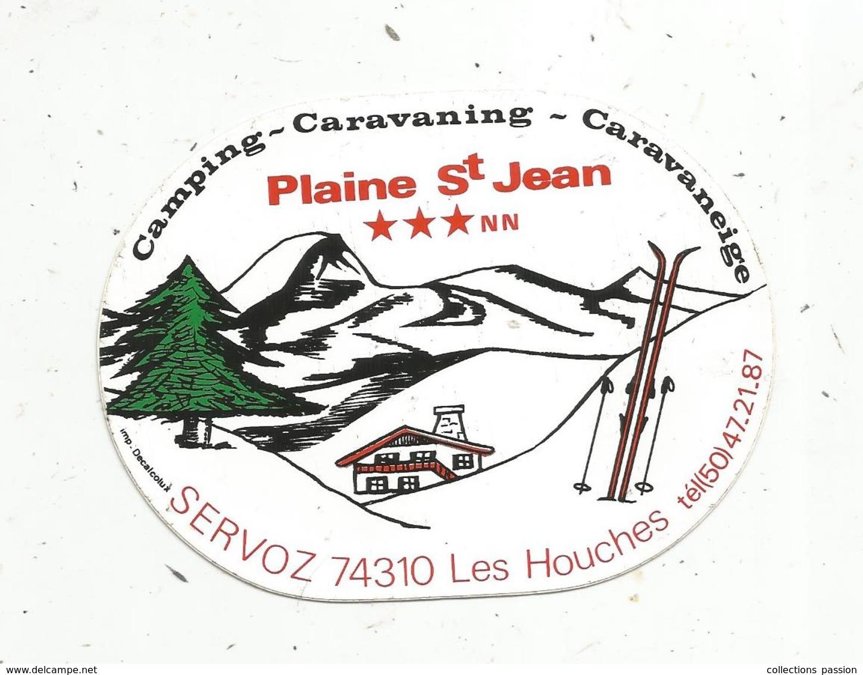 Autocollant  ,CAMPING , CARAVANING , CARAVANEIGE , Plaine Saint Jean,Haute Savoie,  SERVOZ ,LES HOUCHES - Autocollants