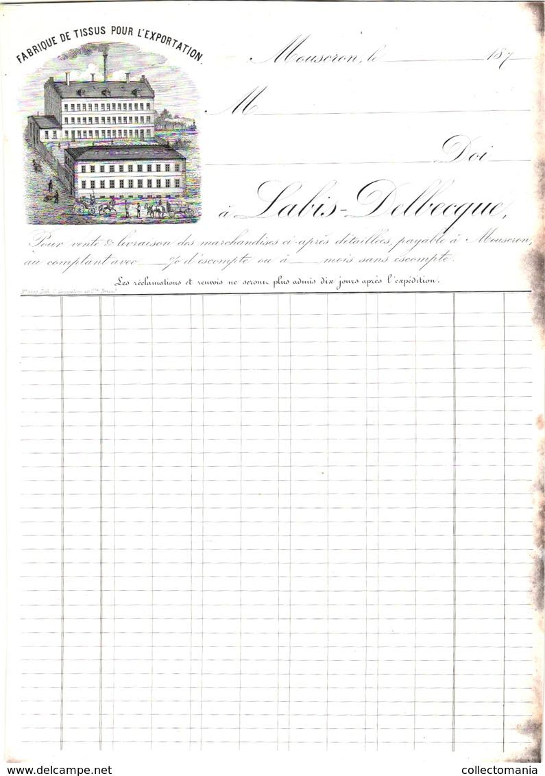 1 Facture Mouscron Fabrique De Tissus Pour L'Exportation C1870 Labis -Delbecque Moeskroen Kleding Weefsels - Textile & Clothing