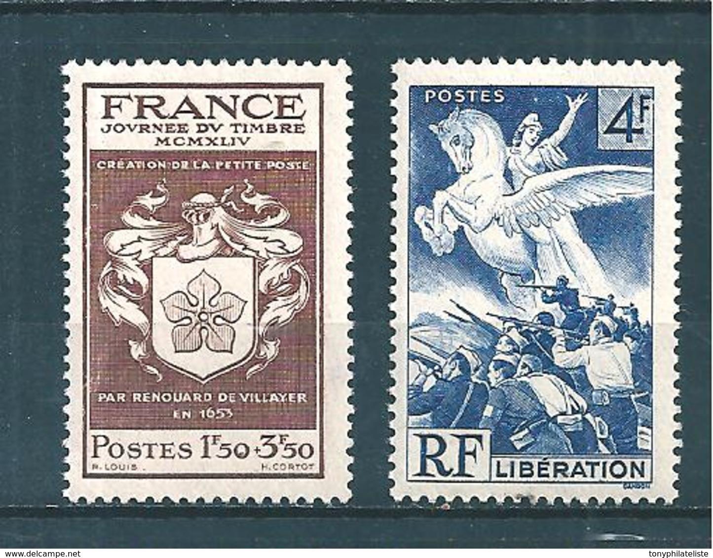 France Timbres De 1944/45  N°668 Et 669  Neuf ** Sans Charniére - France