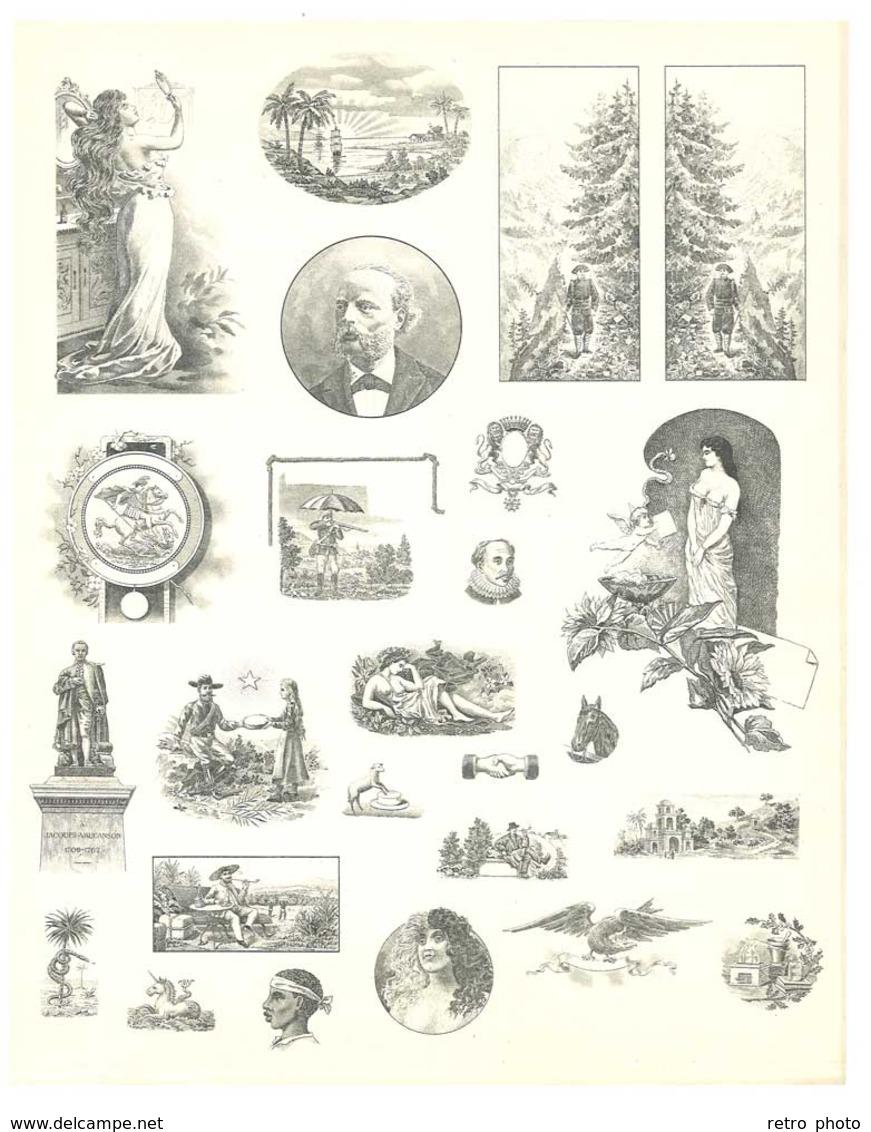 Feuille D'imprimeur ( A. Waton, Saint Etienne ) Illustrée De Dessins (modèles En-tête De Factures ), Portraits, Femmes - Sin Clasificación