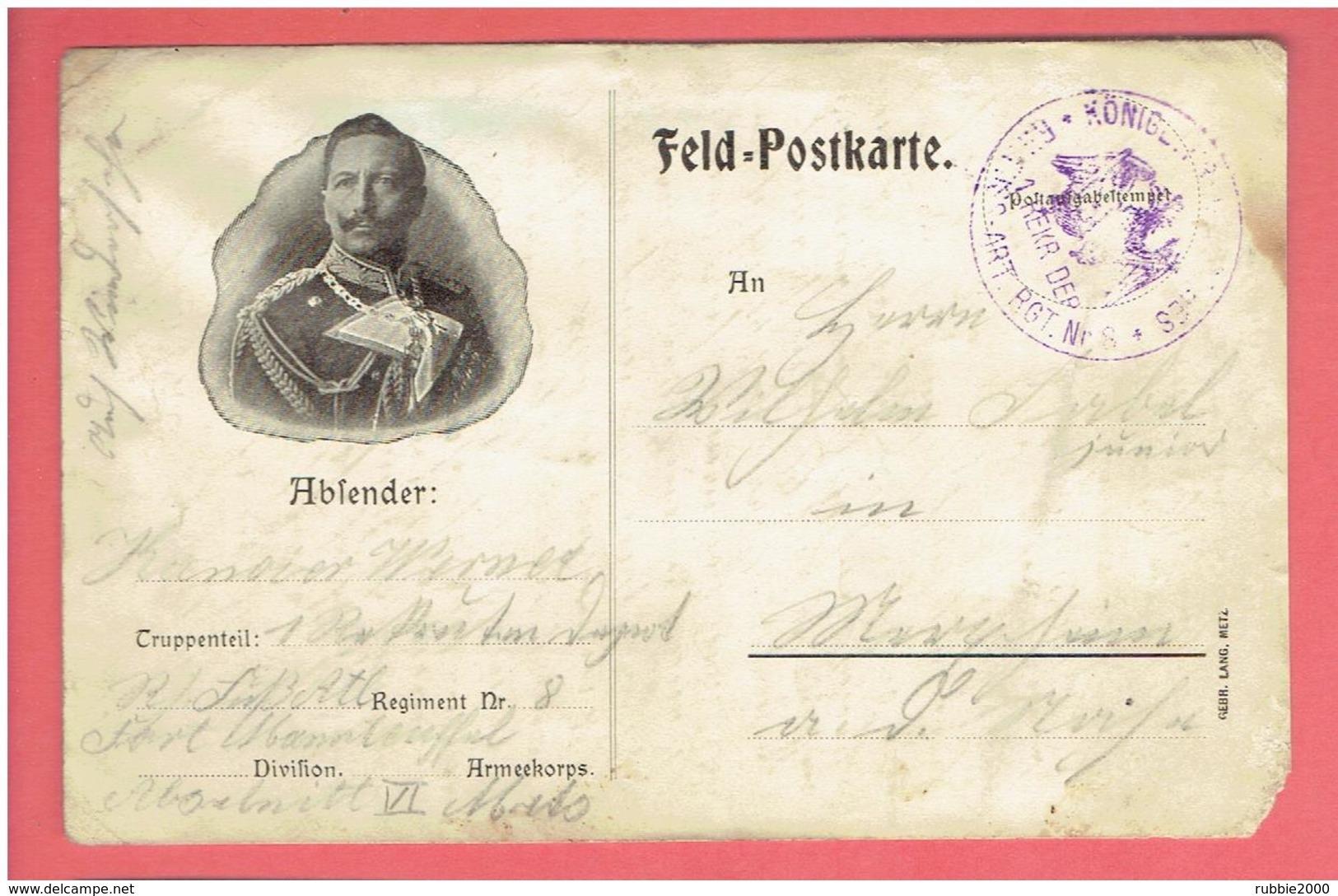 CARTE POSTALE MILITAIRE ALLEMANDE AVEC PORTRAIT DE L EMPEREUR GUILLAUME II DEUTSCHER KAISER WILHELM II WWI 1914 1918 - Guerre 1914-18