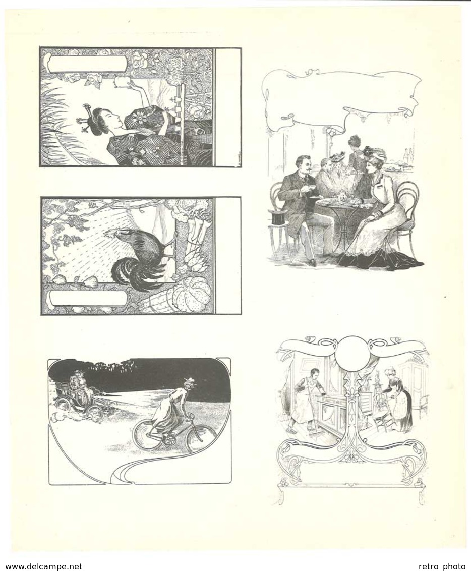 Feuille D'imprimeur ( A. Waton, Saint Etienne ) Illustrée De Dessins (modèles En-tête De Factures ), Scènes Animées - Facturas & Documentos Mercantiles