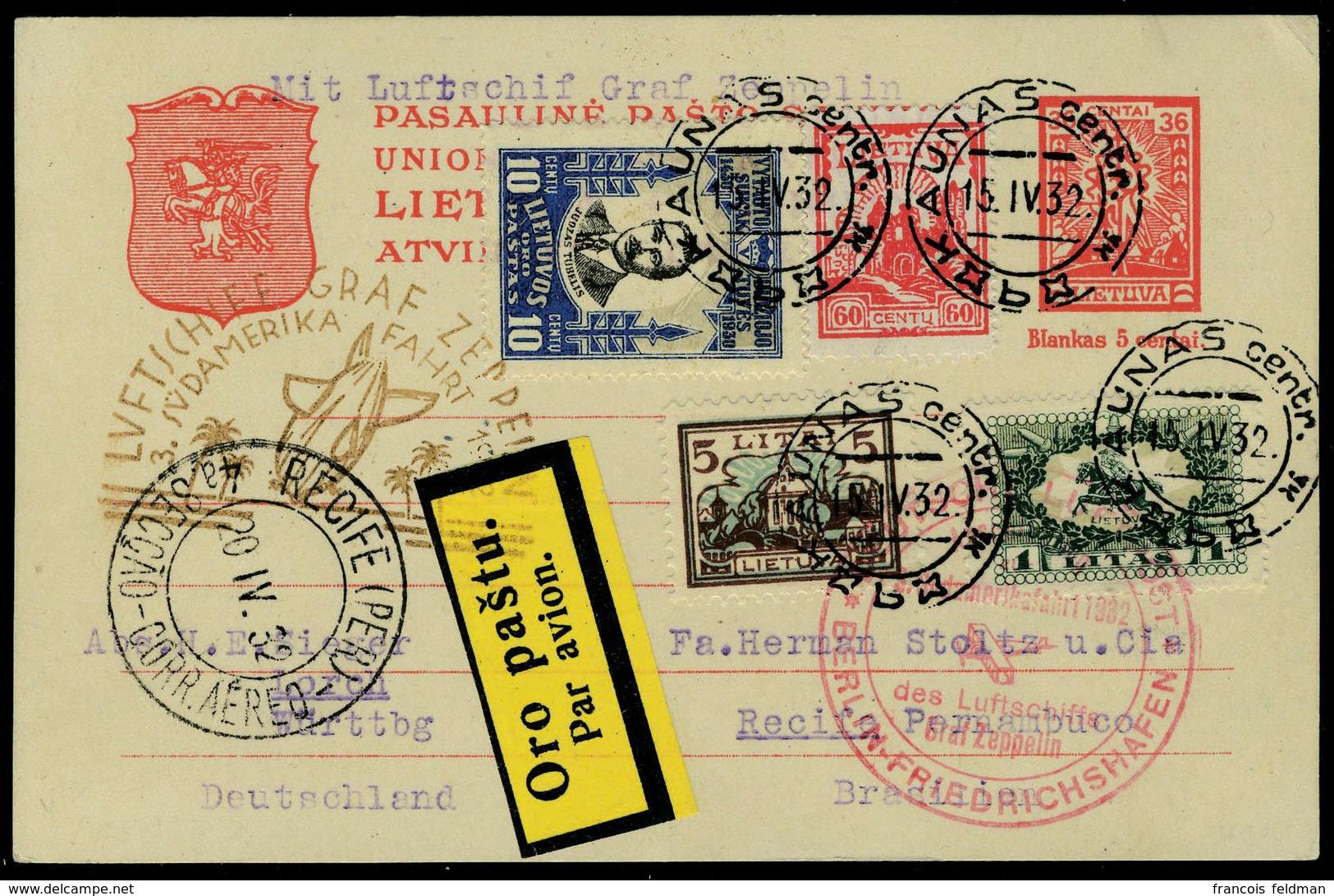 Lettre Zeppelin 3 SAF 1932, EP Avec Complément D'affranchissement, Càd Kaunas 15.IV 32, Cachet Illustré Berlin - Friedri - Postzegels