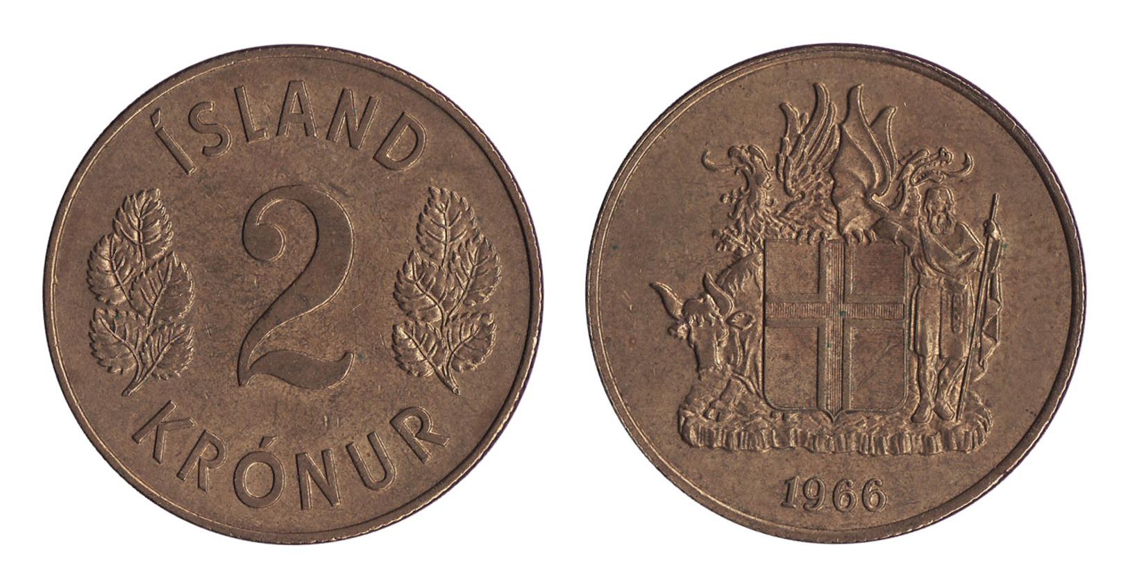 Iceland / 1966 / 2 Kronur / KM 13a.1 / XF - Islandia