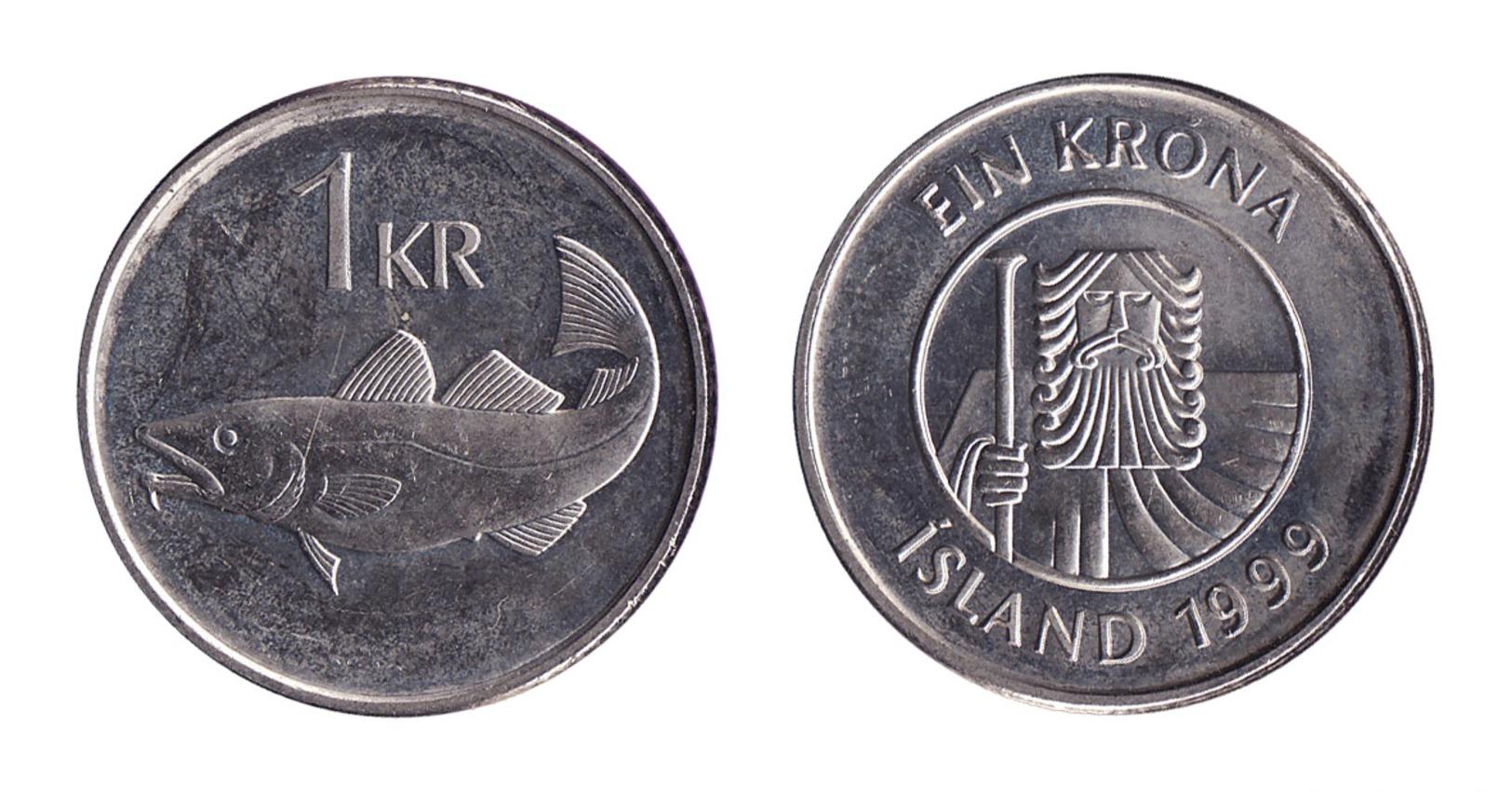Iceland / 1999 / 1 Krona / KM 27a / XF - Iceland