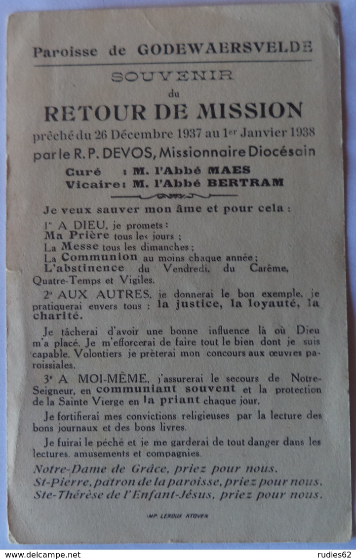 Godewaersvelde - Souvenir De Retour De Mission 26 Décembre 1937 Au 1er Janvier 1938 - Images Religieuses