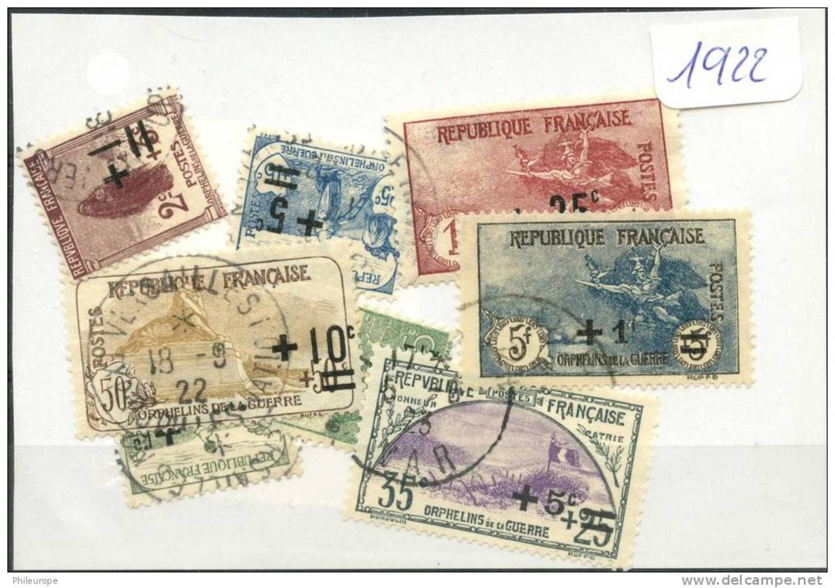 France  Années Completes (o) 1922 (8 Timbres) - ....-1939