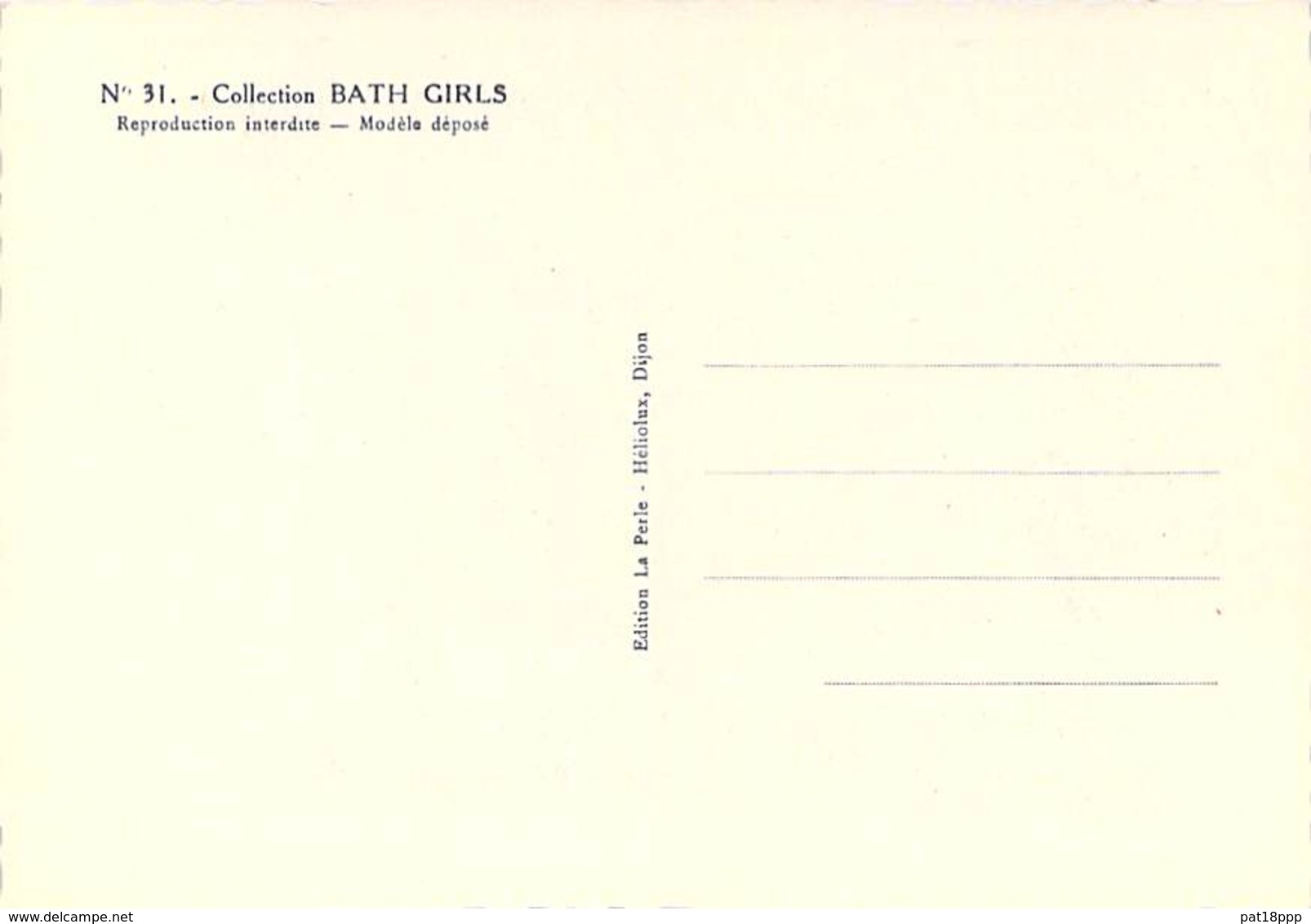 PIN UP Vintage - Original FRANCE 50-60's - CPSM Dentelée GF N° 31 - Coll. BATH GIRLS Sexy Nude Seins Nus Ou Bikini - Pin-Ups