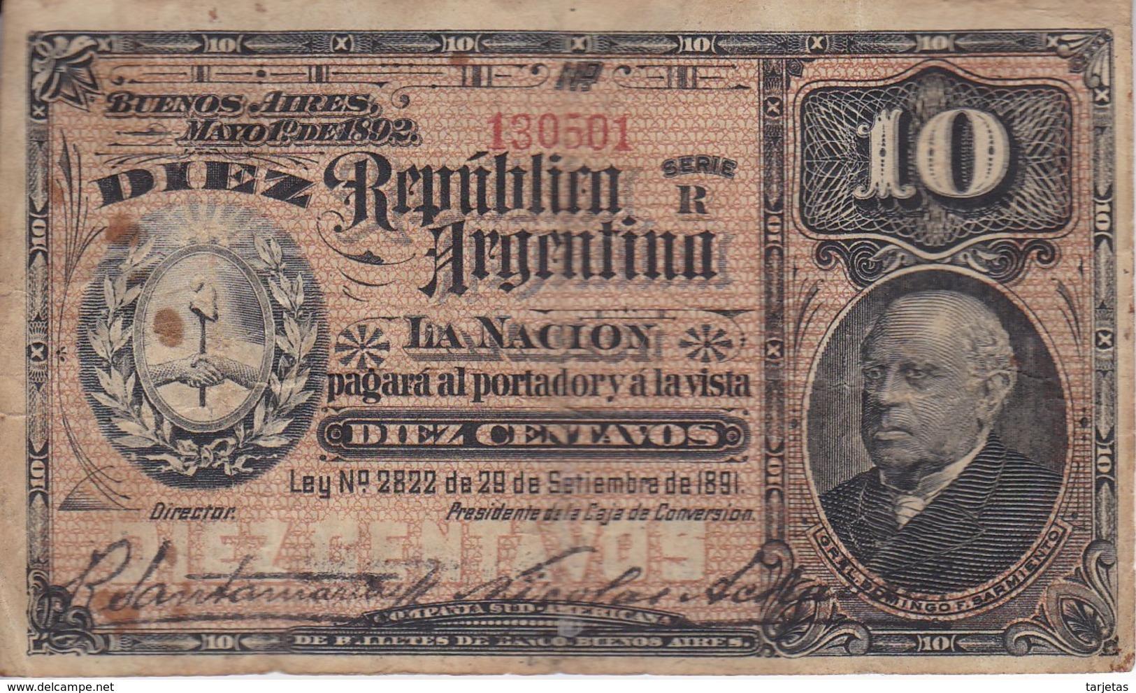 BILLETE DE ARGENTINA DE 10 CENTAVOS DEL AÑO 1891  (BANKNOTE) - Argentina