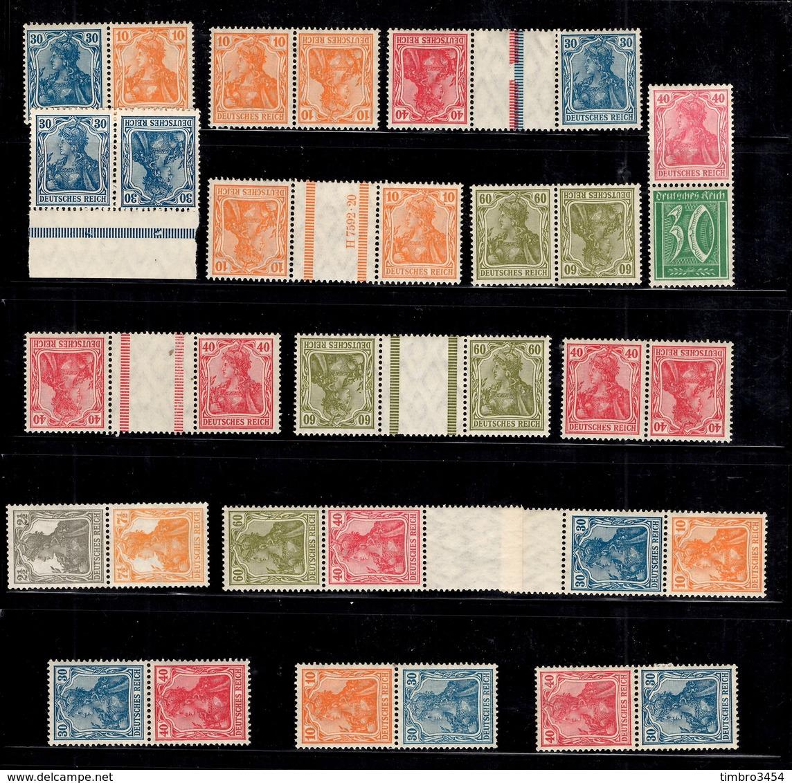 Allemagne/Reich Belle Collection Paires Se-tenant, Paires De Carnet Et Tête-bêche Neufs **/* 1918/1925. TB. A Saisir! - Se-Tenant