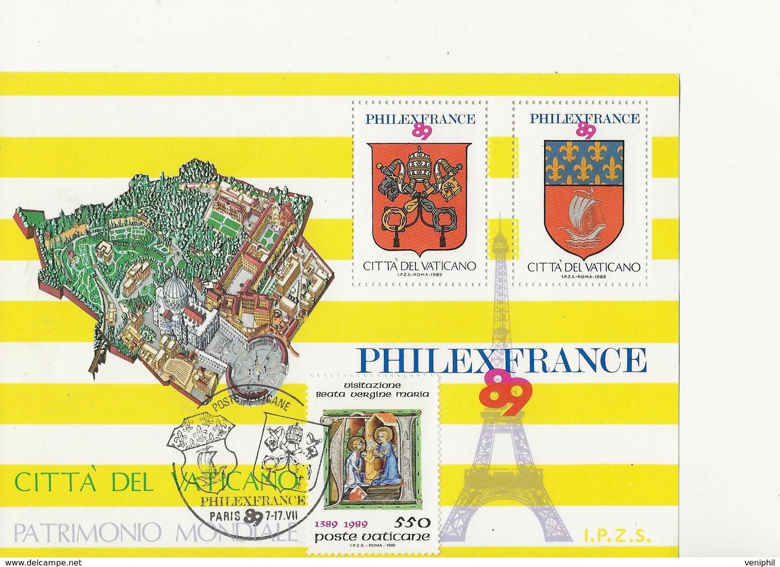 VATICAN -FEUILLET AVEC 2 VIGNETTES EDITE A L'OCCASION DE PHILEXFRANCE  89 AFFRANCHI TIMBRE N° 849 CAD ILLUSTRE - Vaticano (Ciudad Del)