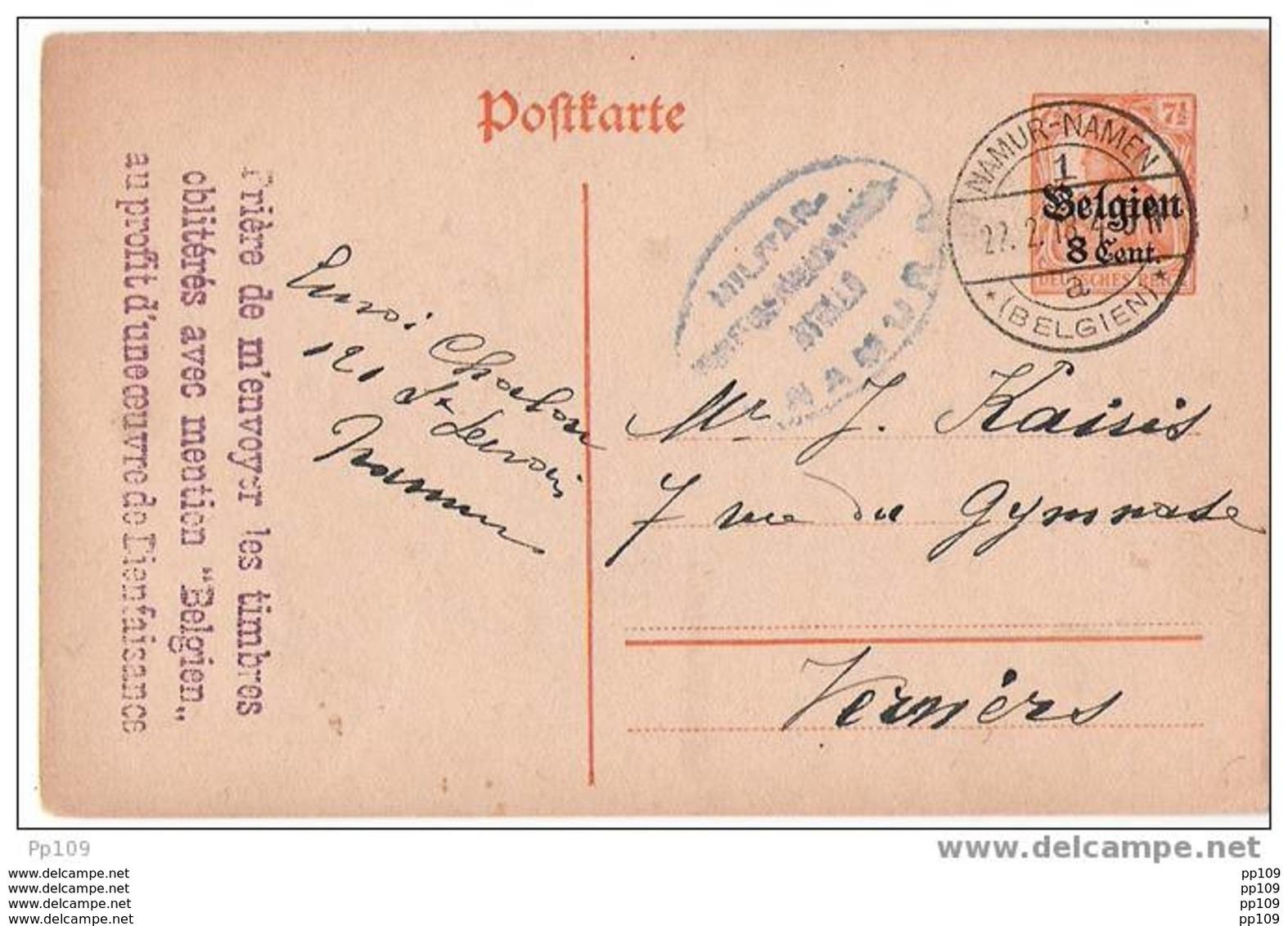 """EP OC10 Obl All. Pont Namur/Namen Le 22 II 1918 (avec Censure De Namur) + Griffe Privée """"Prière De ...bienfaisance""""  ! - Guerra 14 – 18"""