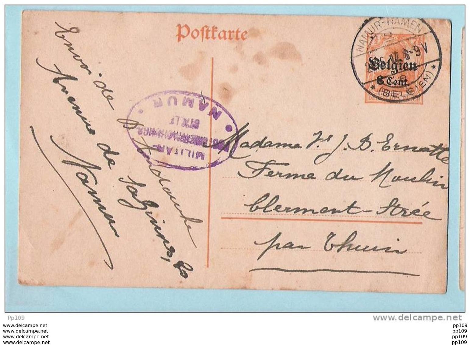 CP (château CRUPEY - CRUPET ?) Obl ASSESSE  + EP (tâches) Obl NAMUR/NAMEN Avec 2 Censures Différentes NAMUR - Otros Cartas