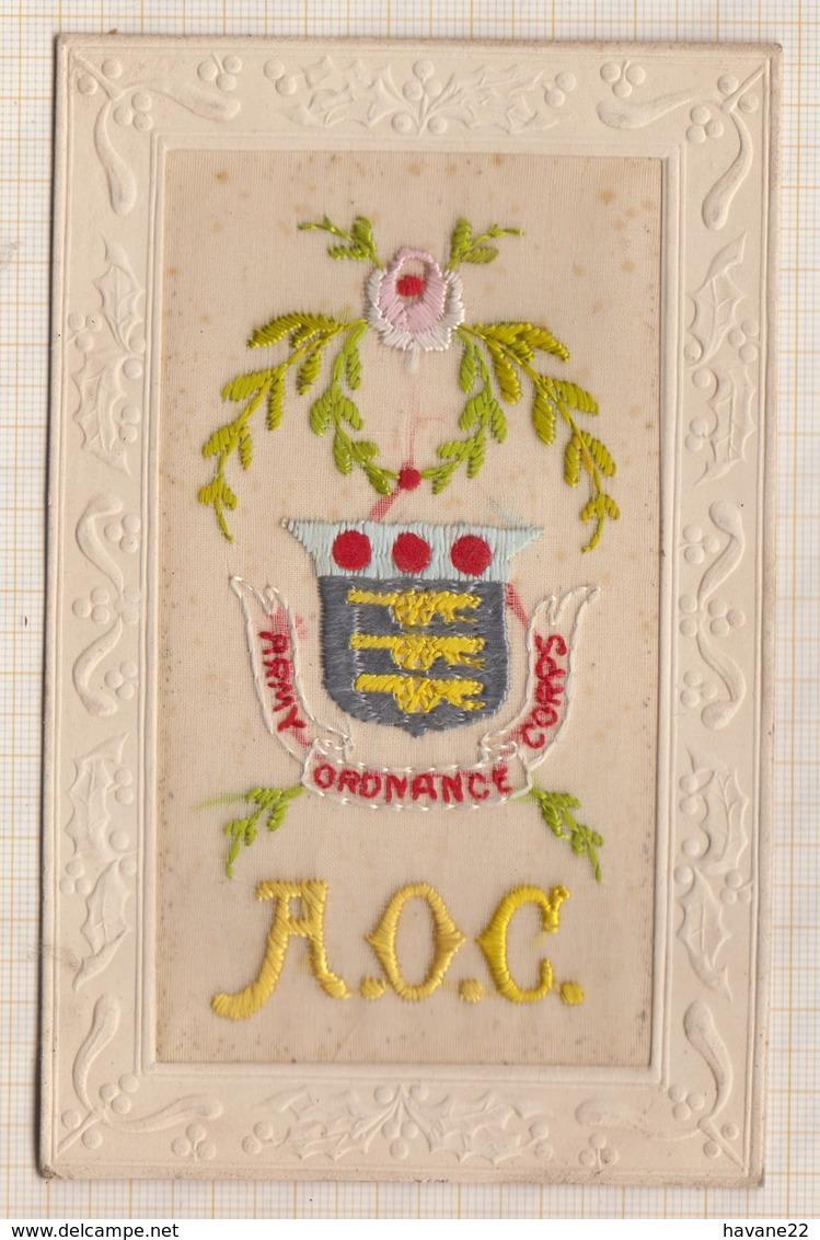 9AL1234 Carte Brodée A O C Army Ordonance Corps 2 SCANS - Cartes Postales